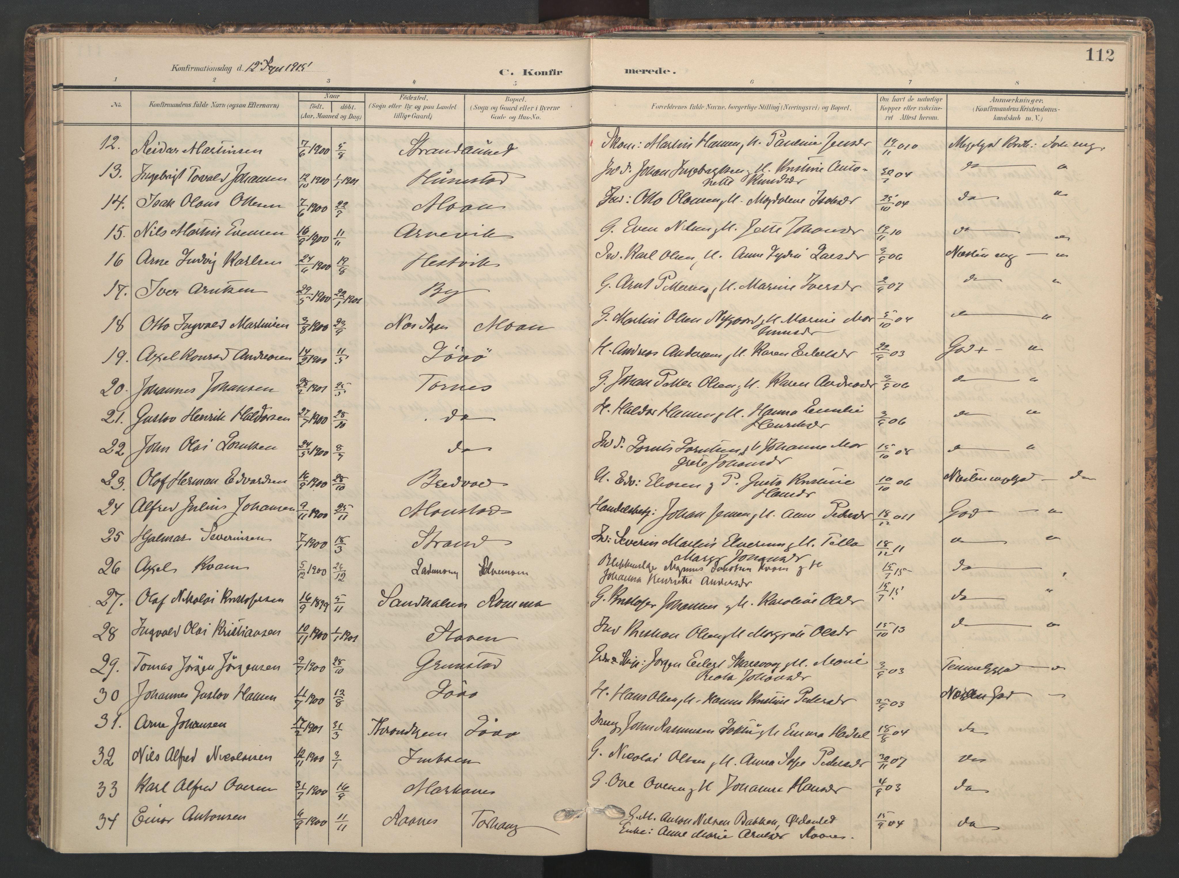 SAT, Ministerialprotokoller, klokkerbøker og fødselsregistre - Sør-Trøndelag, 655/L0682: Ministerialbok nr. 655A11, 1908-1922, s. 112