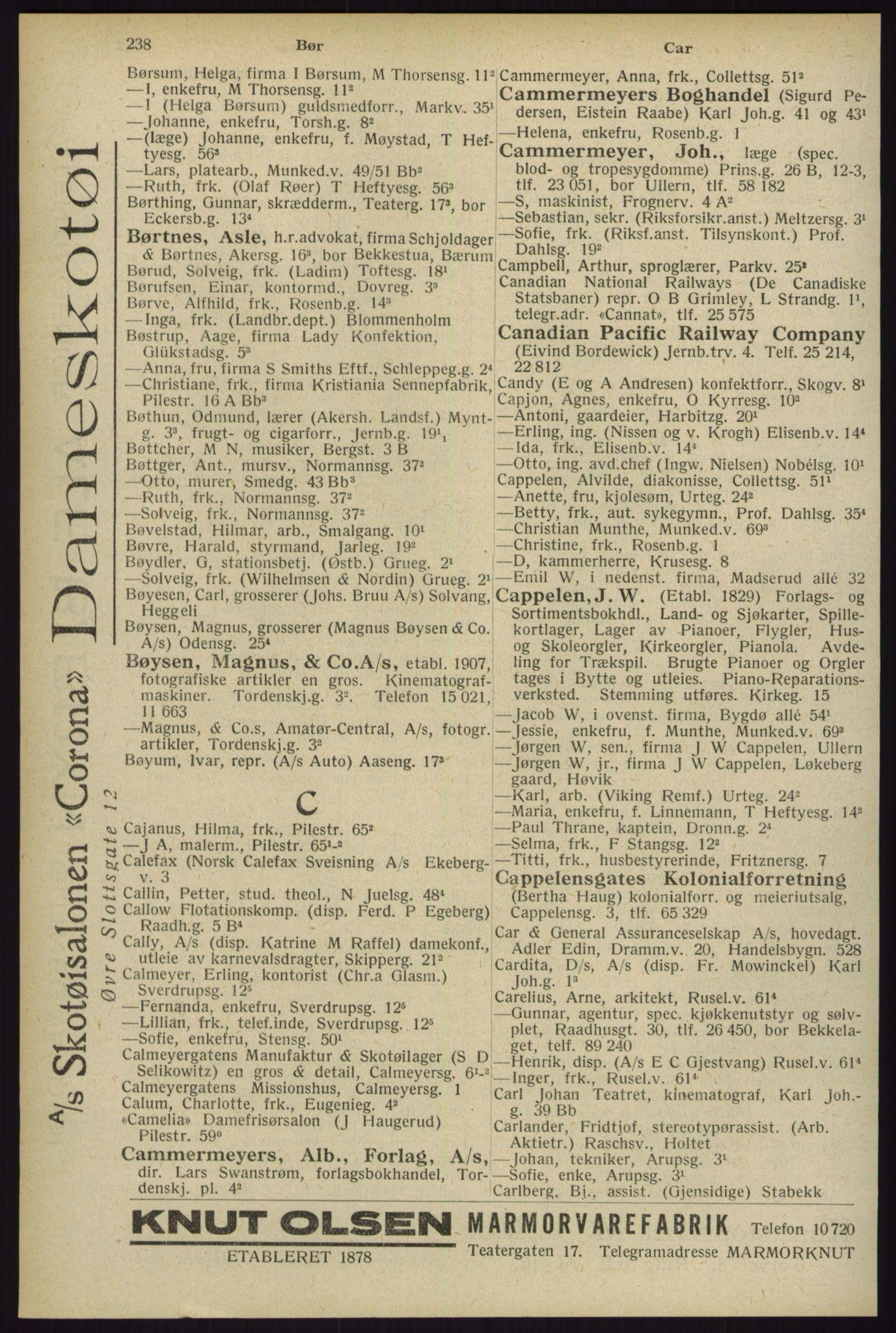RA, Oslo adressebok (publikasjon)*, 1929, s. 238