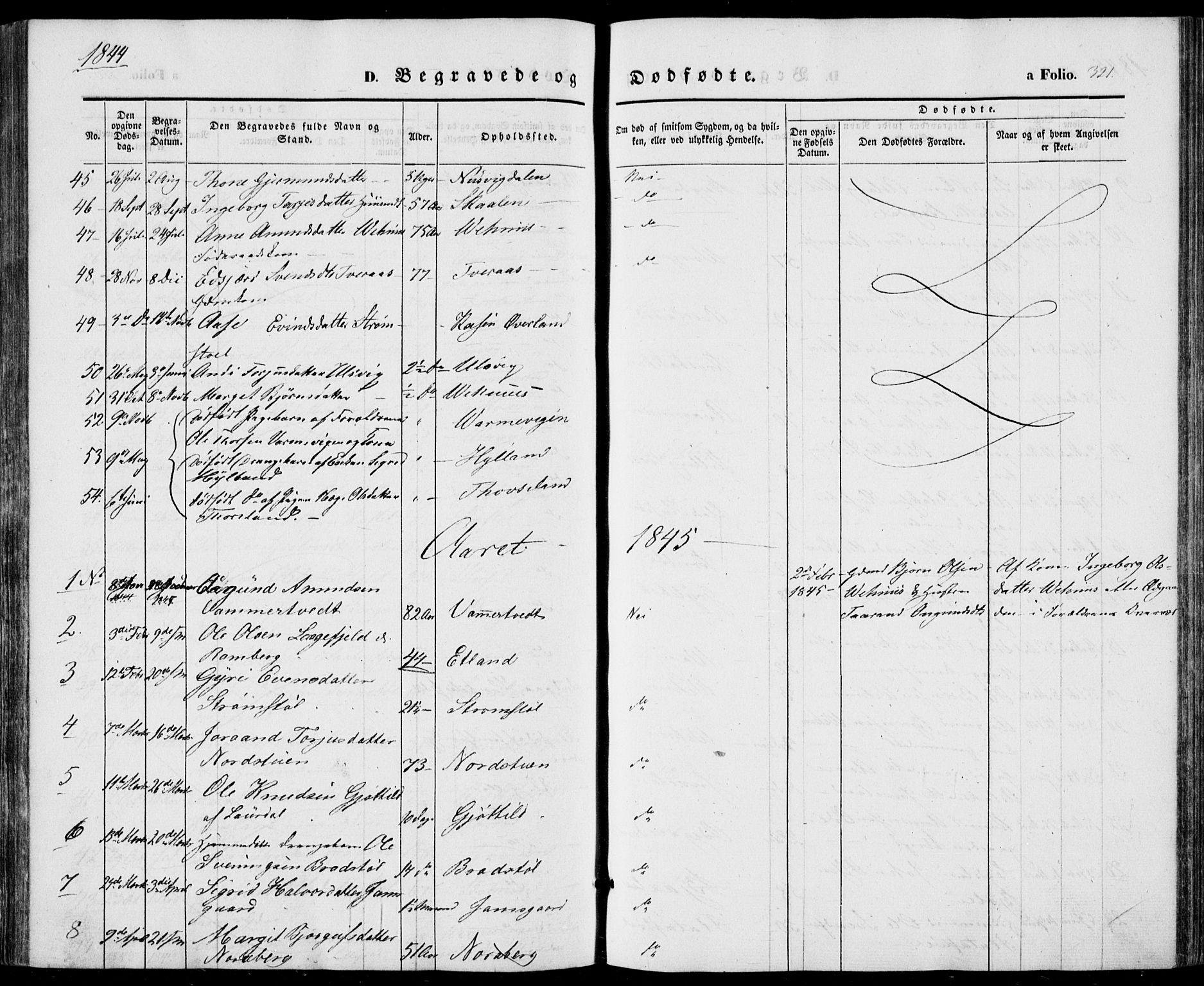 SAKO, Vinje kirkebøker, F/Fa/L0004: Ministerialbok nr. I 4, 1843-1869, s. 321