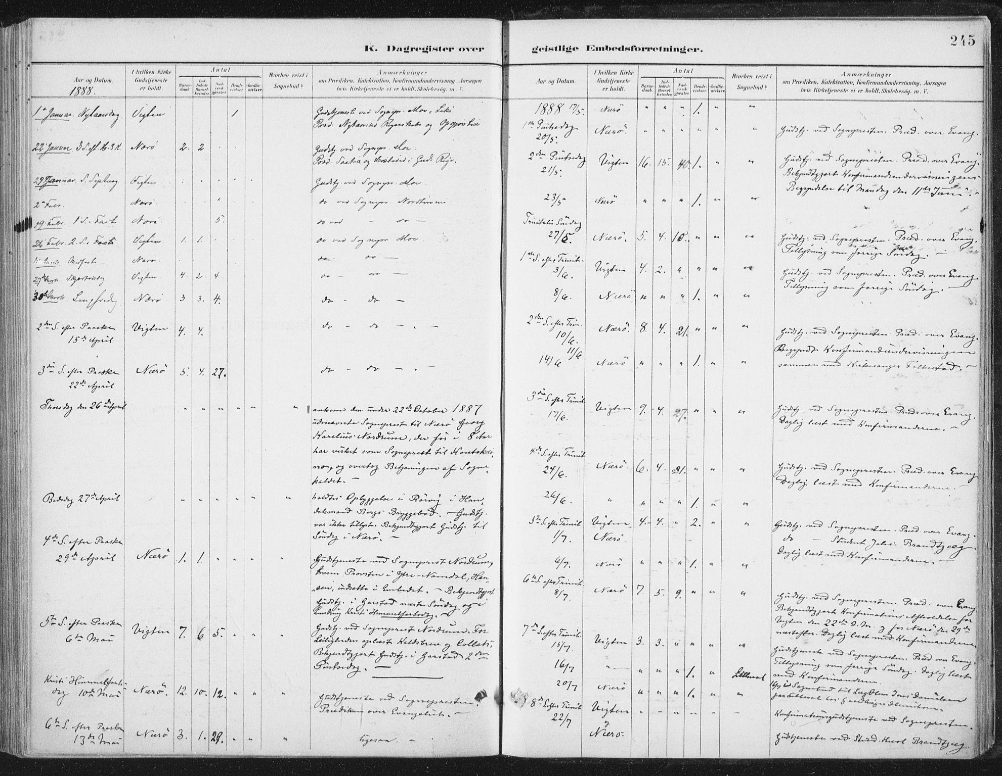 SAT, Ministerialprotokoller, klokkerbøker og fødselsregistre - Nord-Trøndelag, 784/L0673: Ministerialbok nr. 784A08, 1888-1899, s. 245