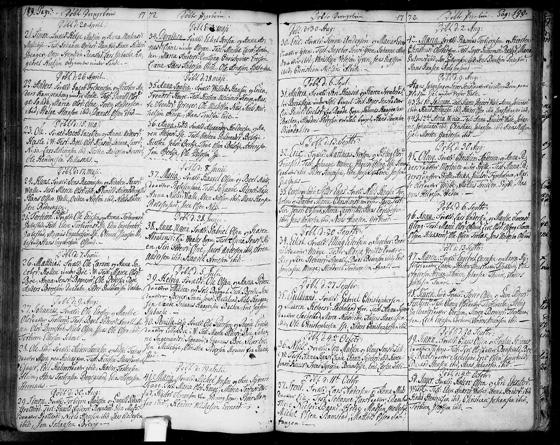 SAO, Tune prestekontor Kirkebøker, F/Fa/L0002: Ministerialbok nr. 2, 1758-1781, s. 189-190