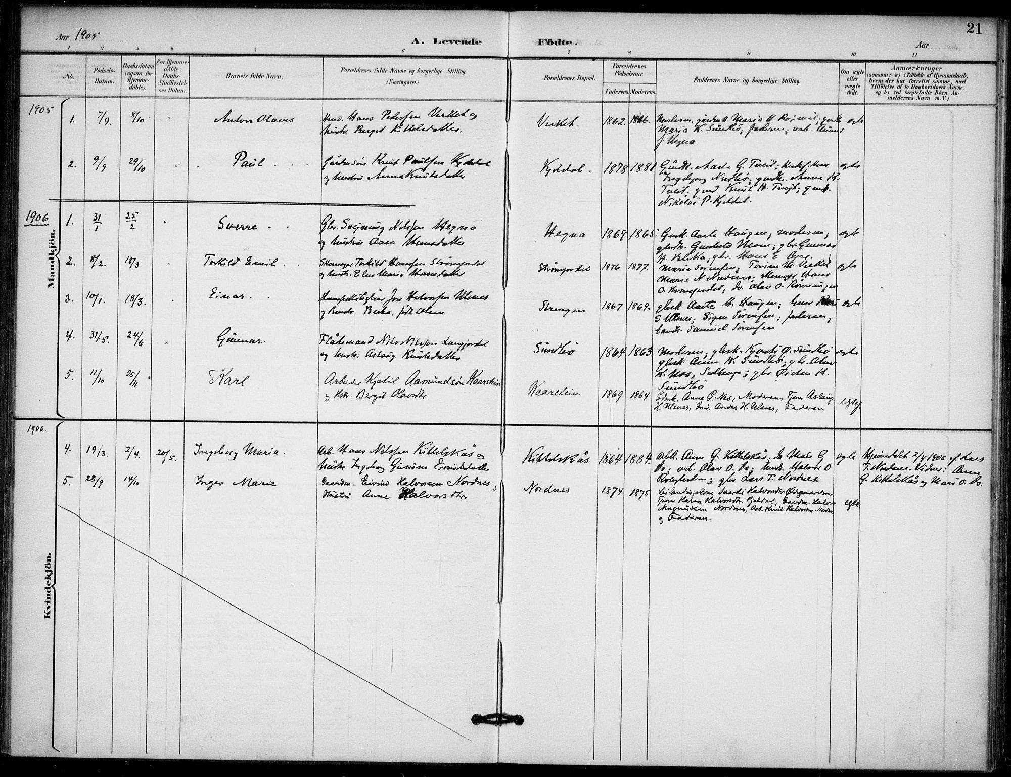 SAKO, Lunde kirkebøker, F/Fb/L0004: Ministerialbok nr. II 4, 1892-1907, s. 21