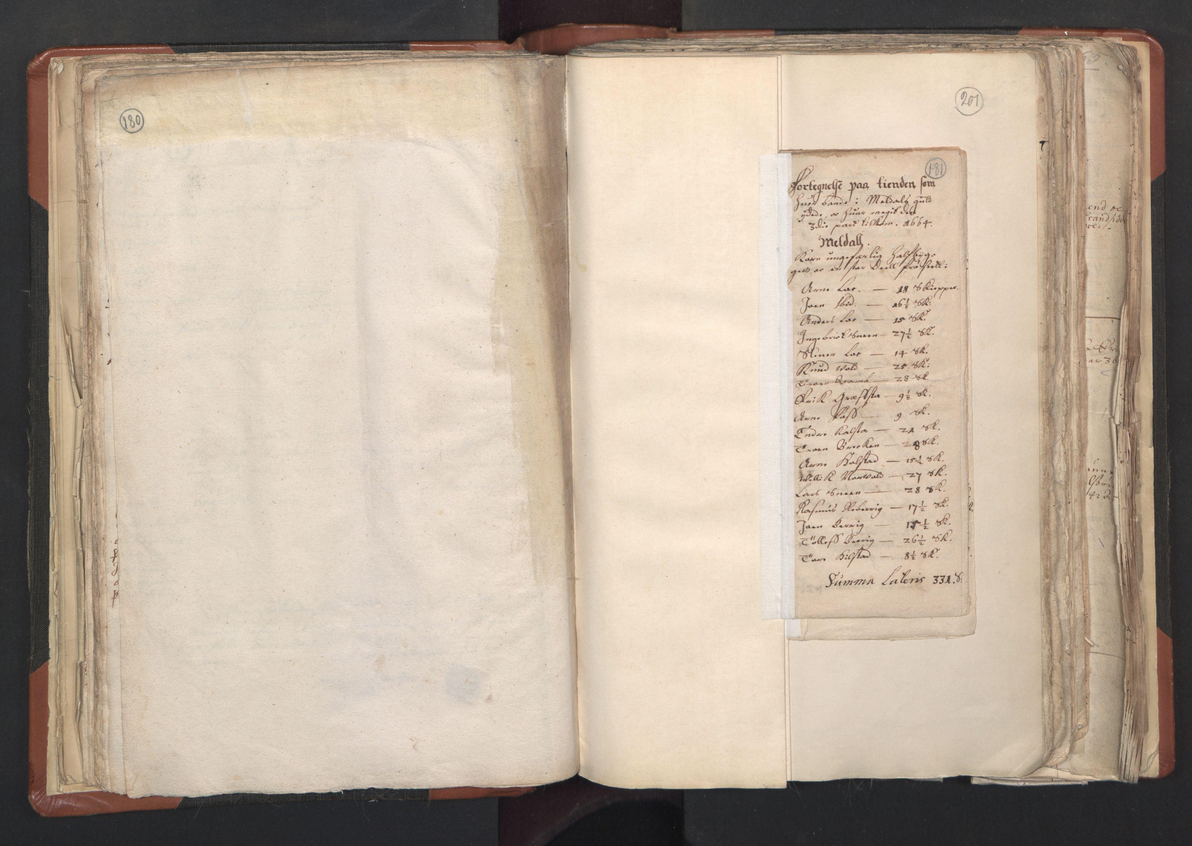 RA, Sogneprestenes manntall 1664-1666, nr. 31: Dalane prosti, 1664-1666, s. 180-181
