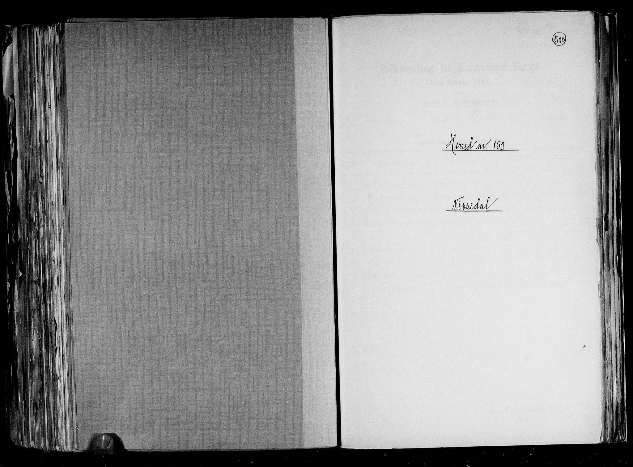 RA, Folketelling 1891 for 0830 Nissedal herred, 1891, s. 1