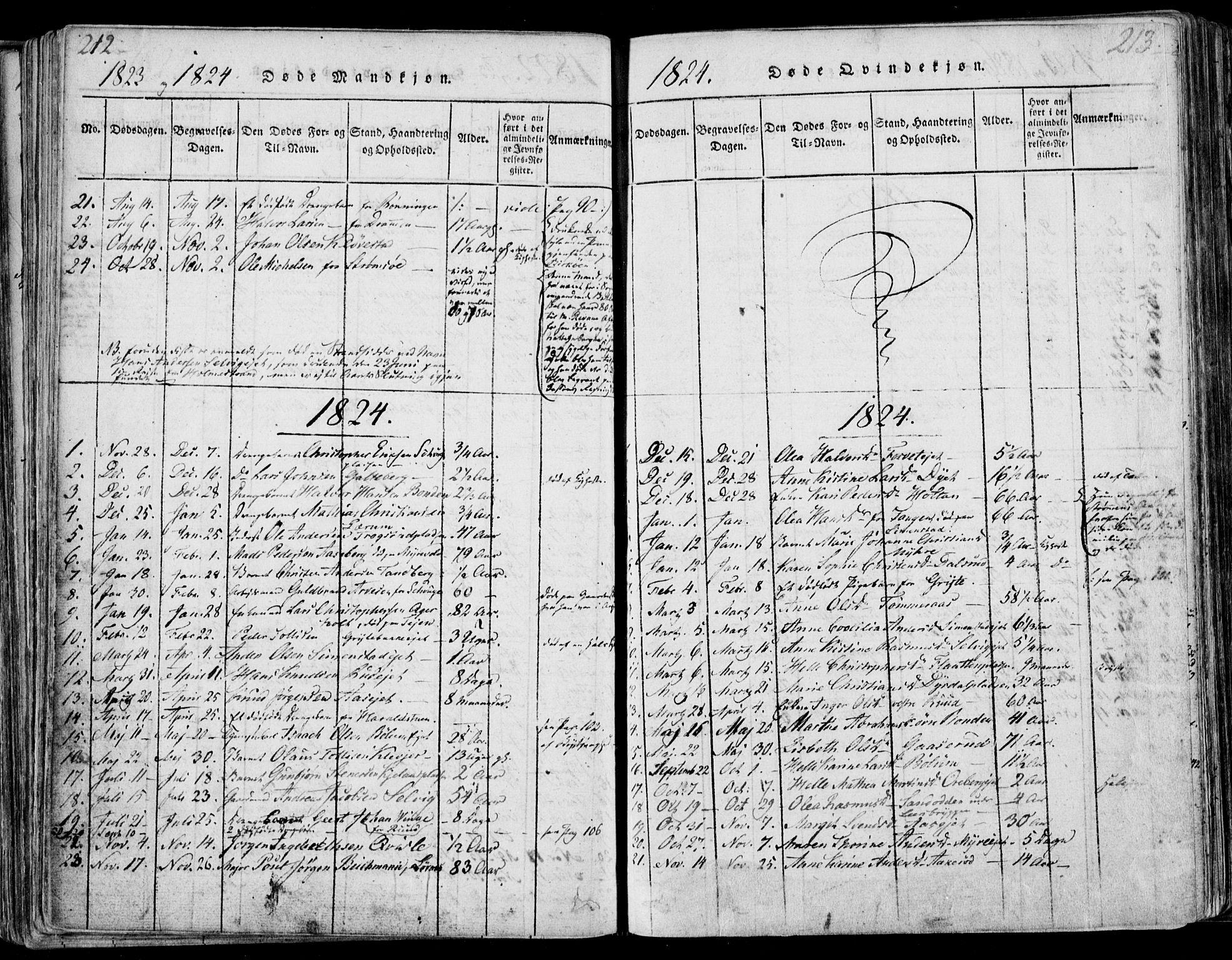SAKO, Sande Kirkebøker, F/Fa/L0003: Ministerialbok nr. 3, 1814-1847, s. 212-213