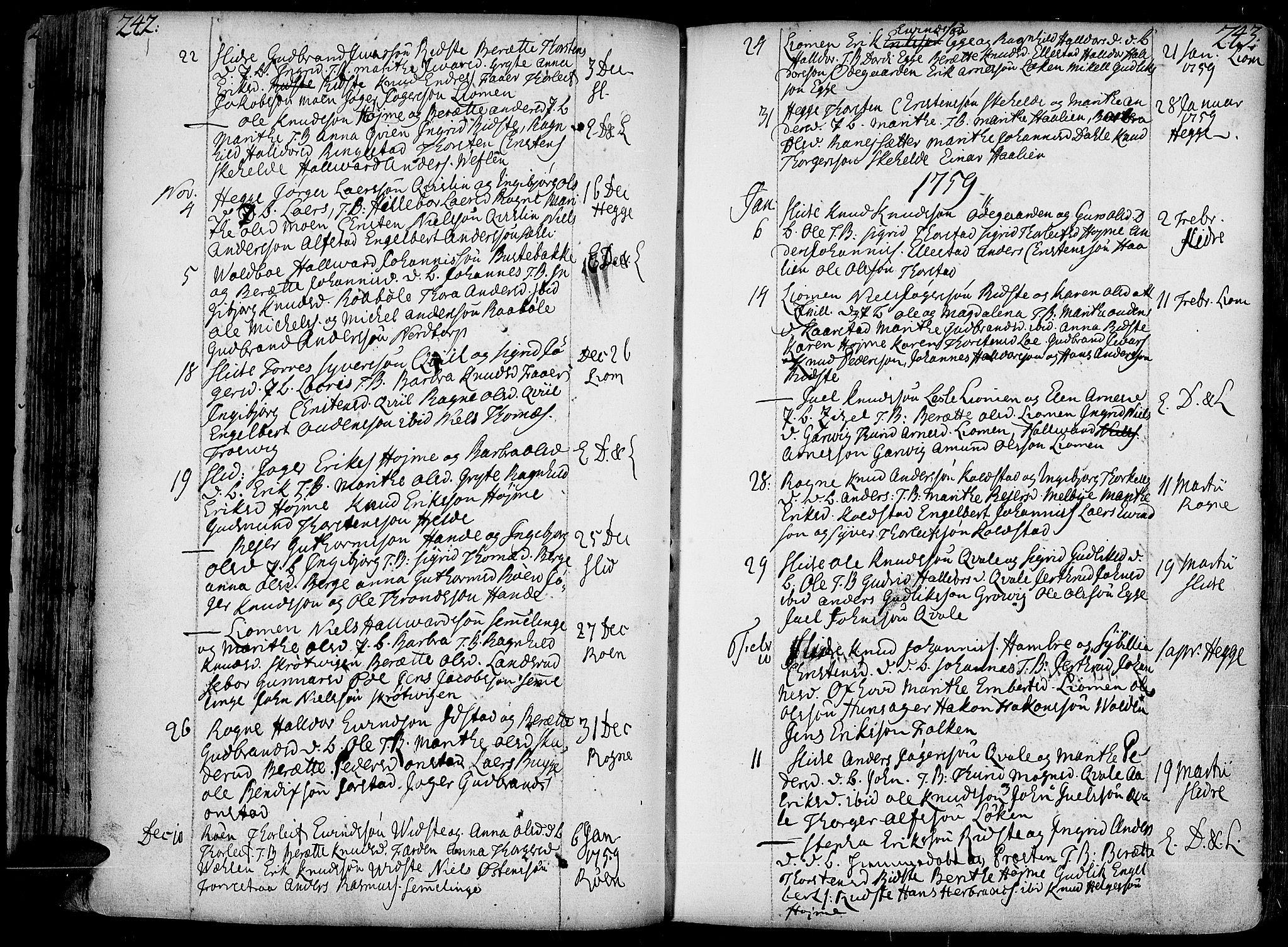 SAH, Slidre prestekontor, Ministerialbok nr. 1, 1724-1814, s. 242-243