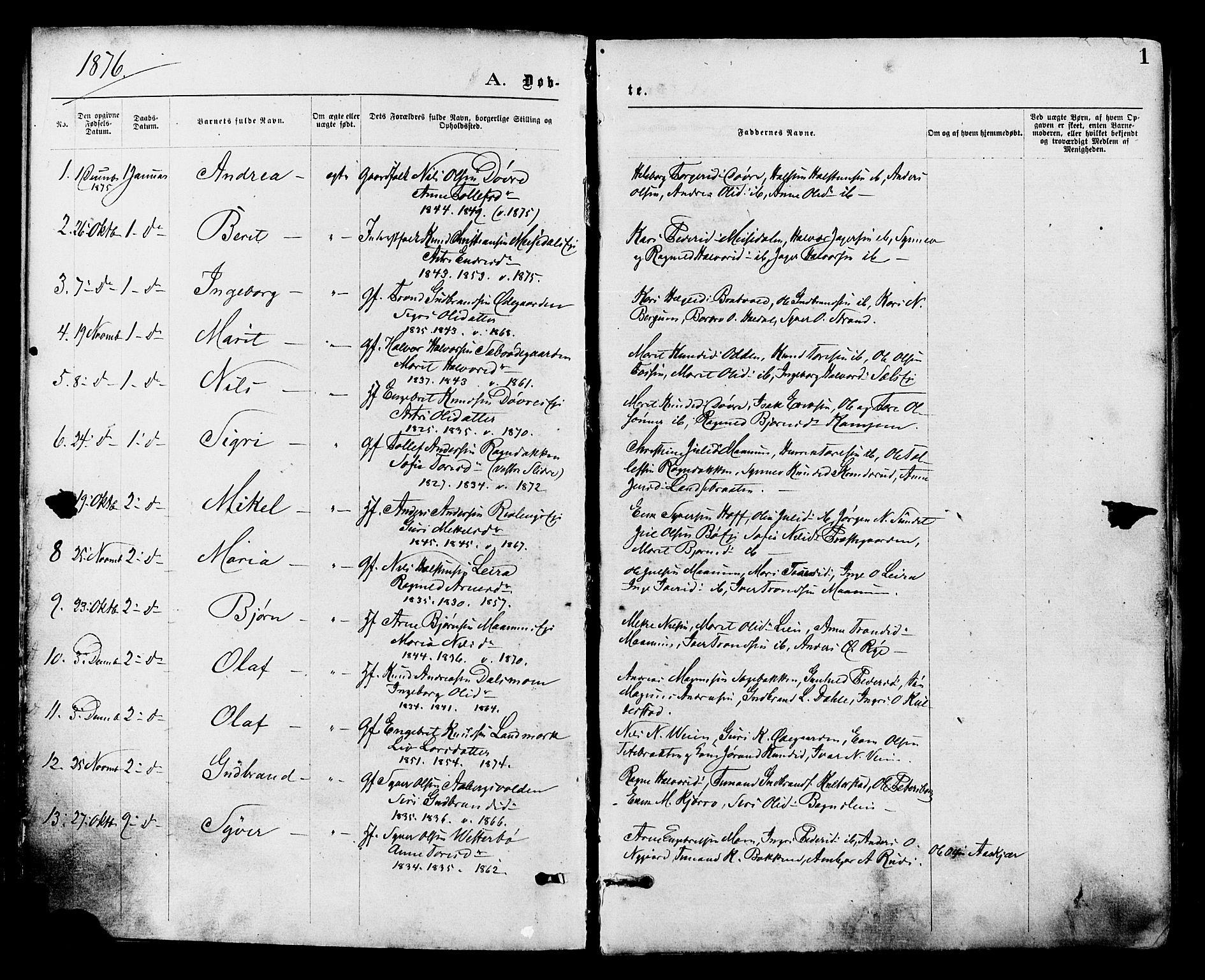 SAH, Nord-Aurdal prestekontor, Ministerialbok nr. 9, 1876-1882, s. 1