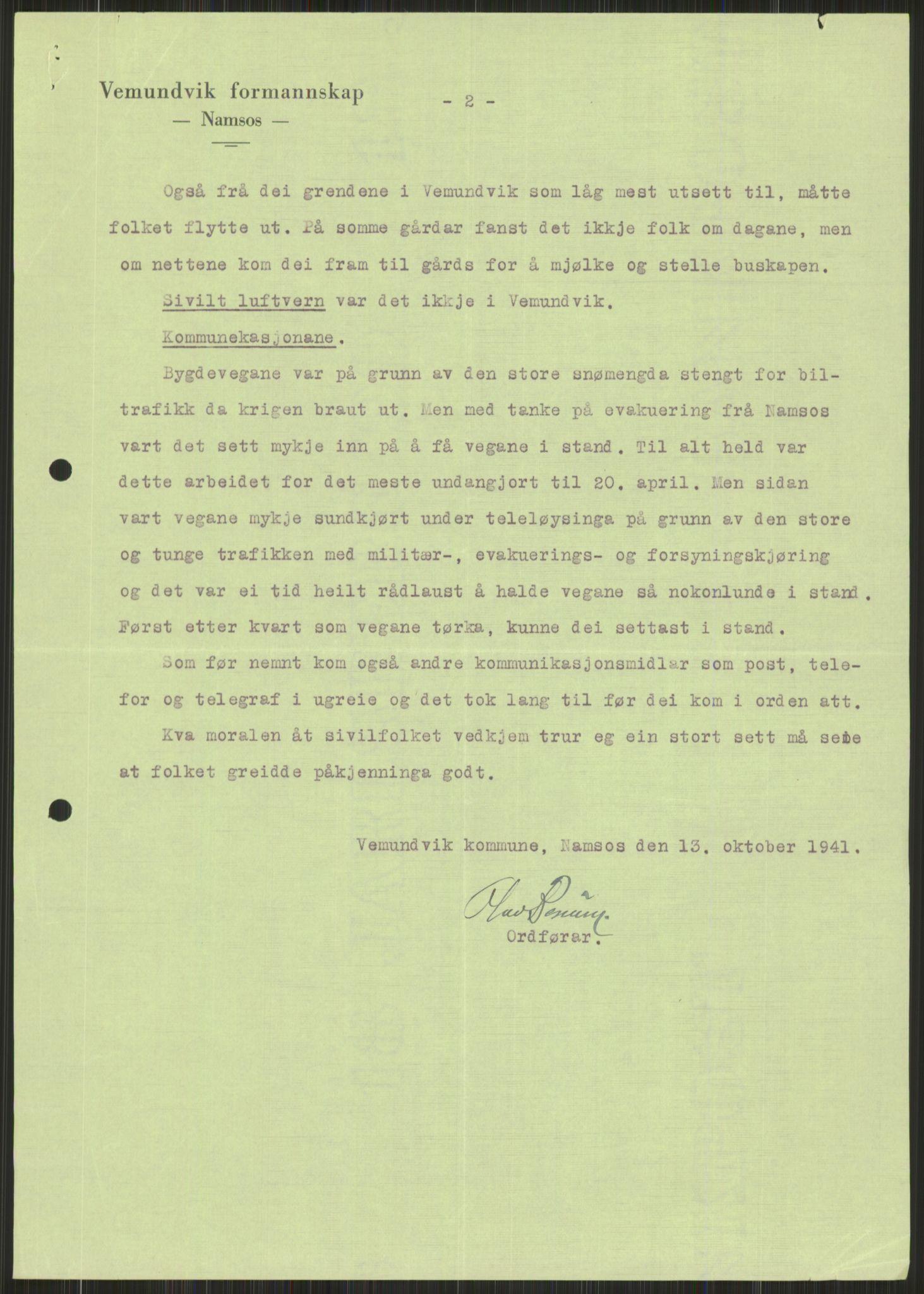 RA, Forsvaret, Forsvarets krigshistoriske avdeling, Y/Ya/L0016: II-C-11-31 - Fylkesmenn.  Rapporter om krigsbegivenhetene 1940., 1940, s. 591