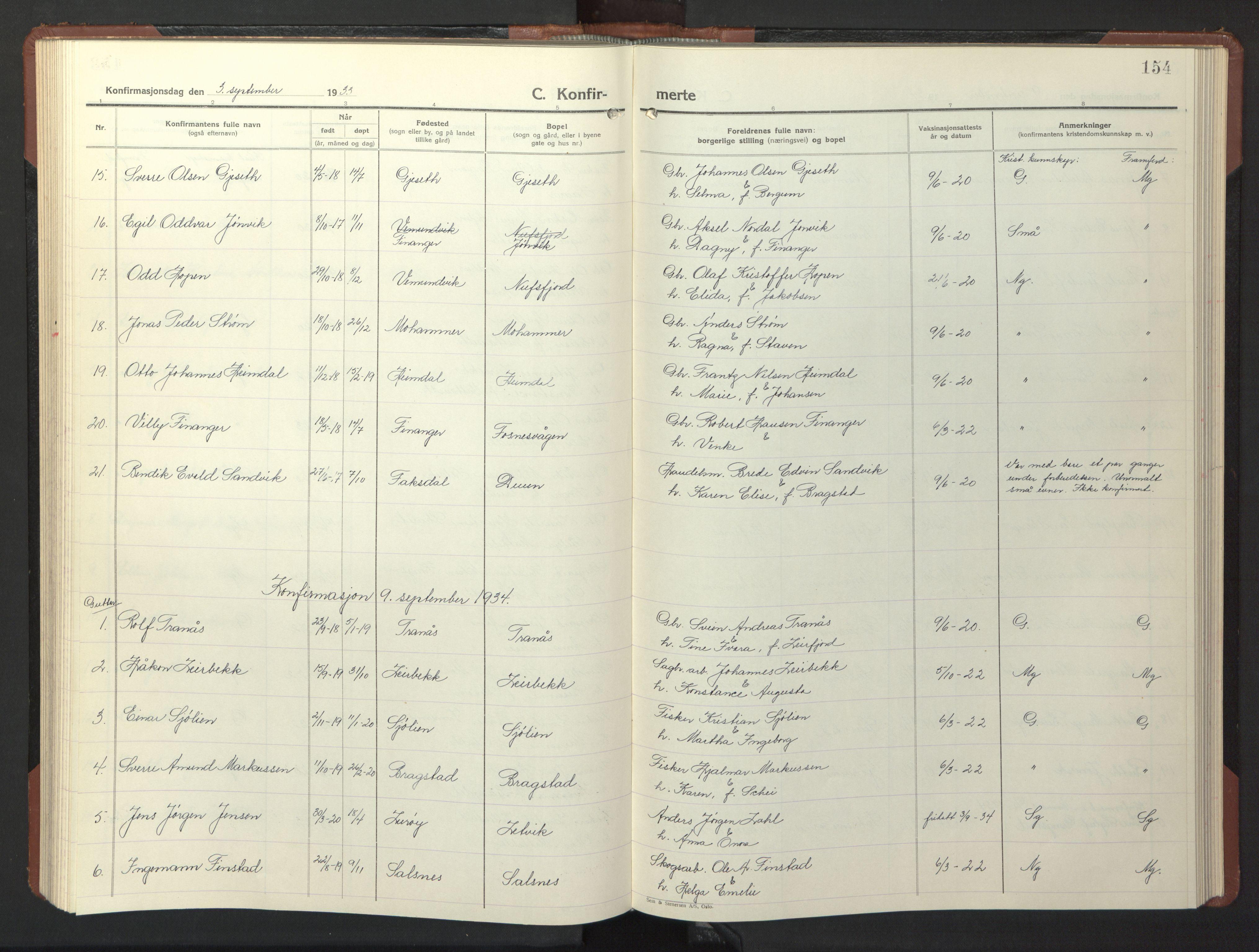 SAT, Ministerialprotokoller, klokkerbøker og fødselsregistre - Nord-Trøndelag, 773/L0625: Klokkerbok nr. 773C01, 1910-1952, s. 154