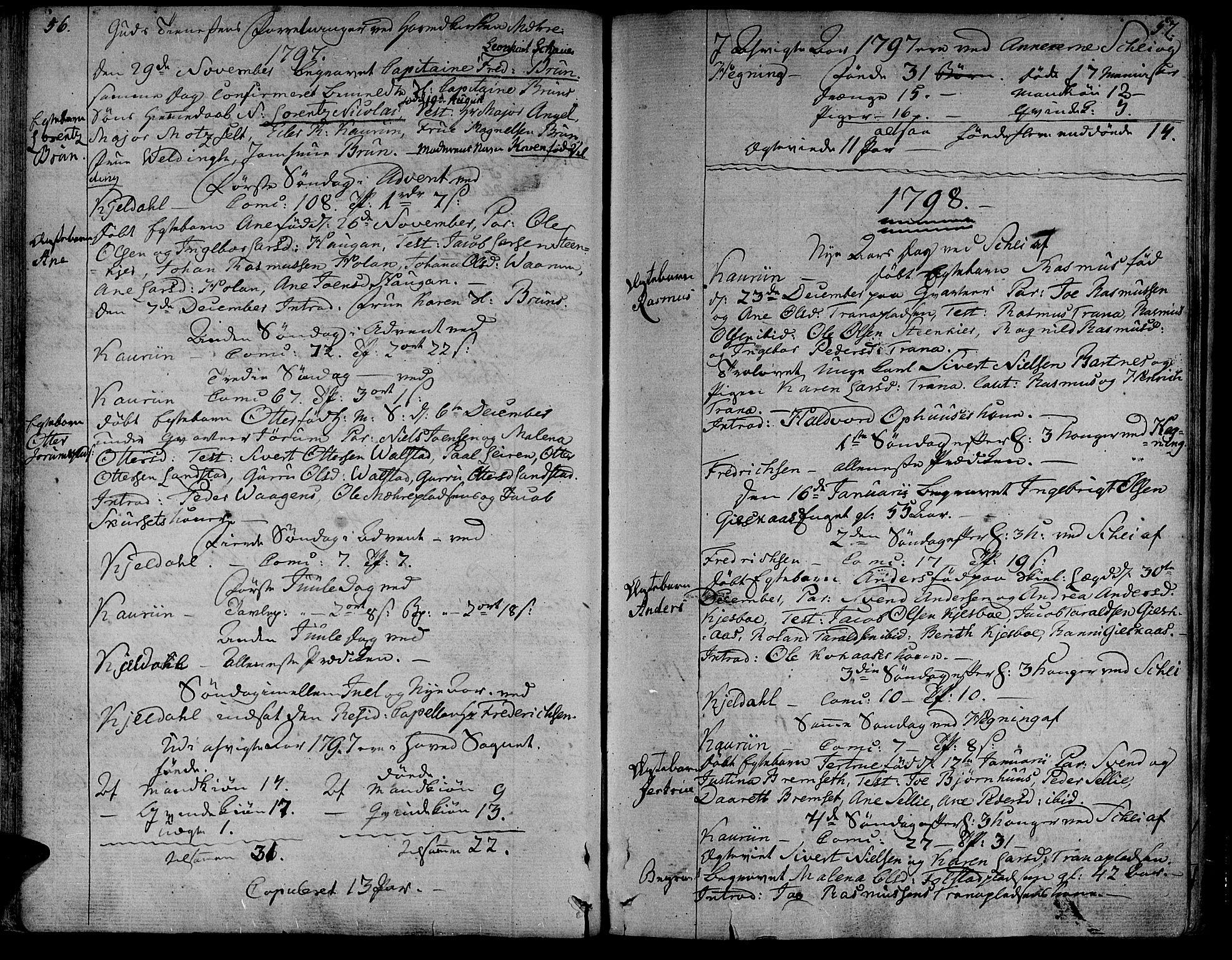 SAT, Ministerialprotokoller, klokkerbøker og fødselsregistre - Nord-Trøndelag, 735/L0332: Ministerialbok nr. 735A03, 1795-1816, s. 56-57