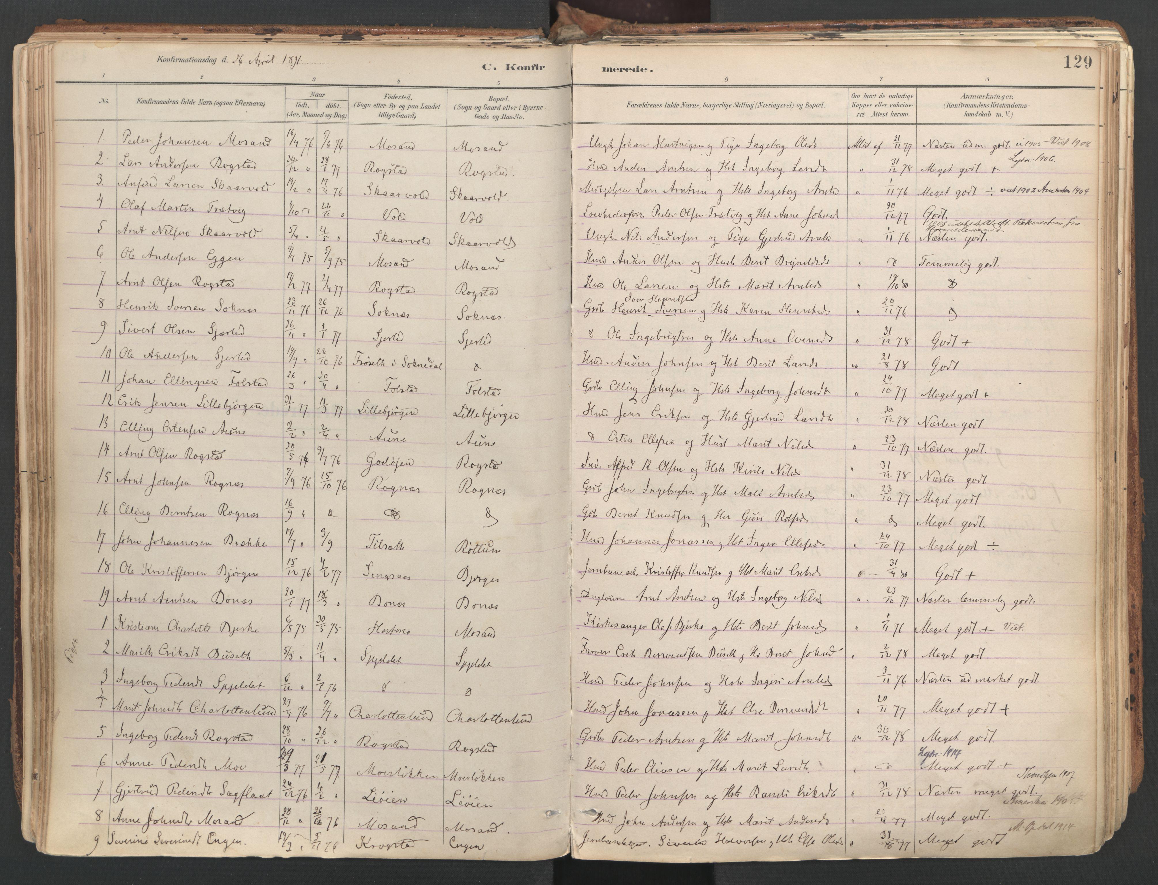 SAT, Ministerialprotokoller, klokkerbøker og fødselsregistre - Sør-Trøndelag, 687/L1004: Ministerialbok nr. 687A10, 1891-1923, s. 129