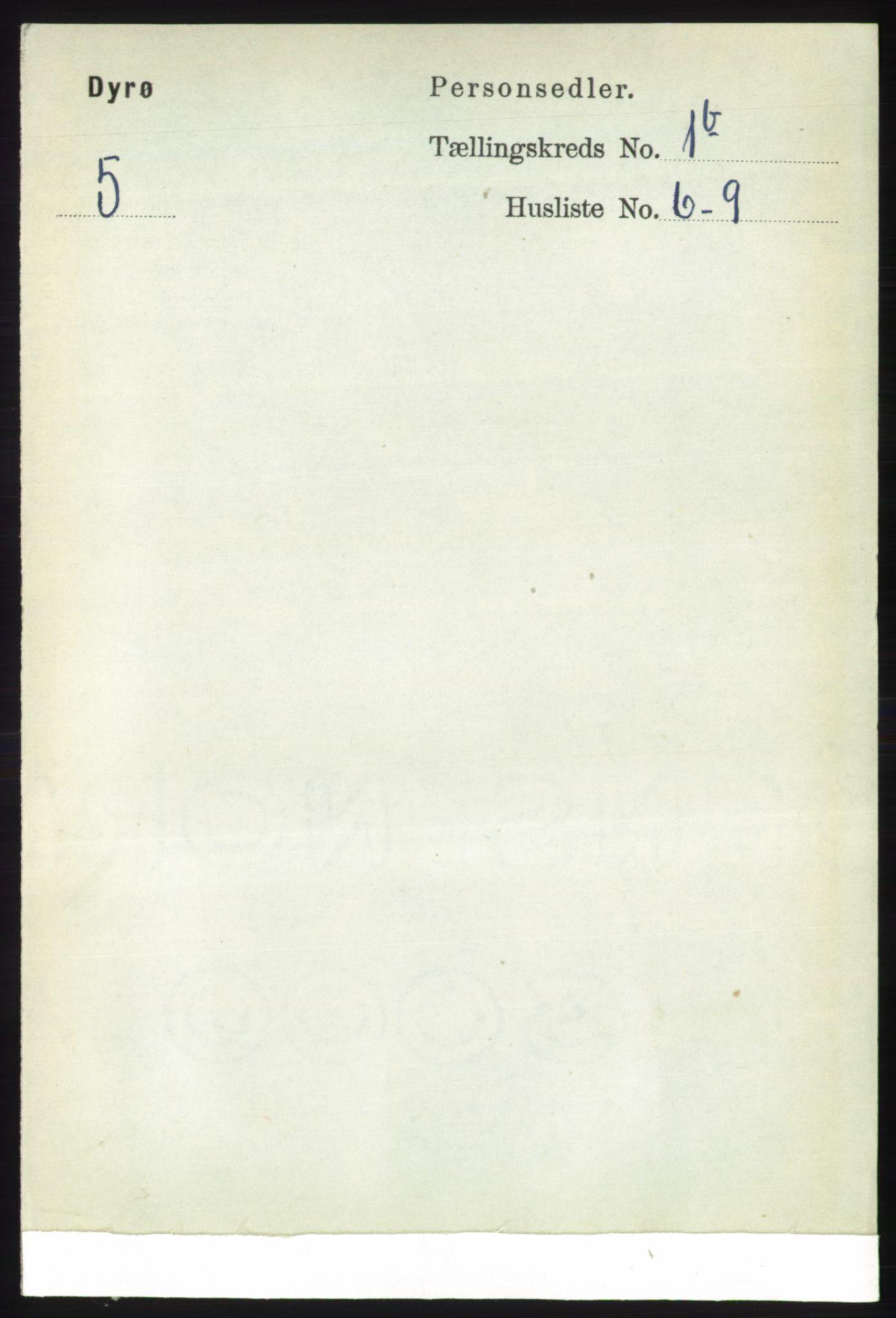 RA, Folketelling 1891 for 1926 Dyrøy herred, 1891, s. 417