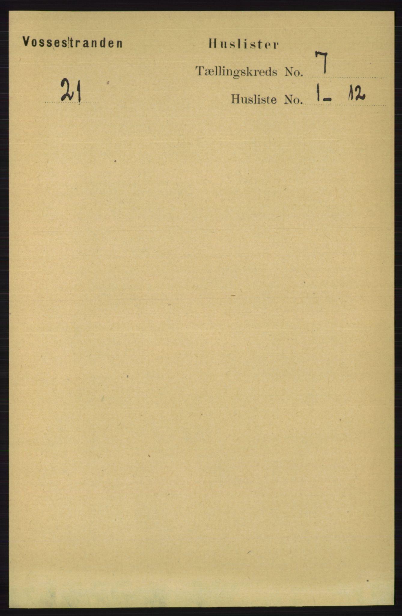 RA, Folketelling 1891 for 1236 Vossestrand herred, 1891, s. 2312