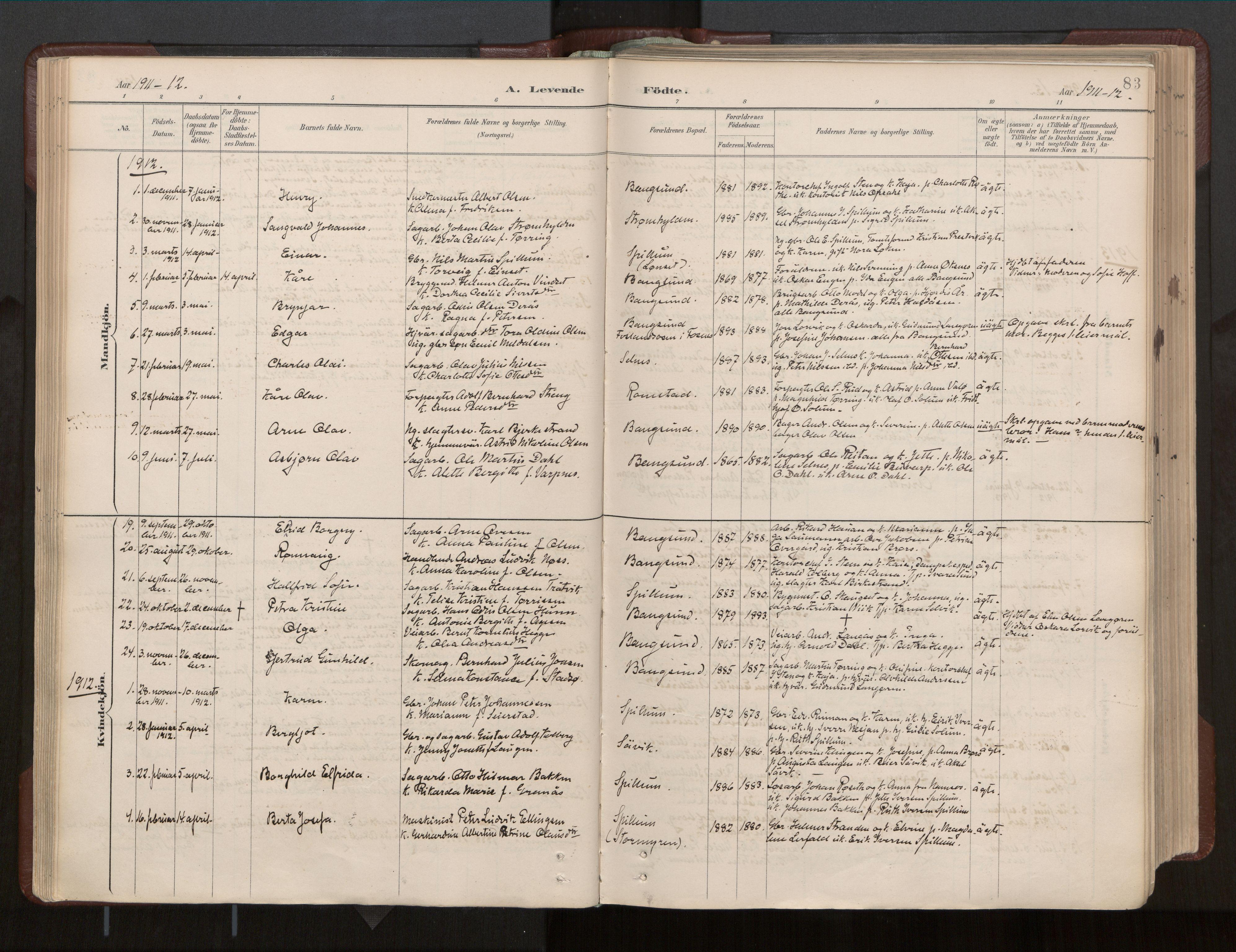 SAT, Ministerialprotokoller, klokkerbøker og fødselsregistre - Nord-Trøndelag, 770/L0589: Ministerialbok nr. 770A03, 1887-1929, s. 83