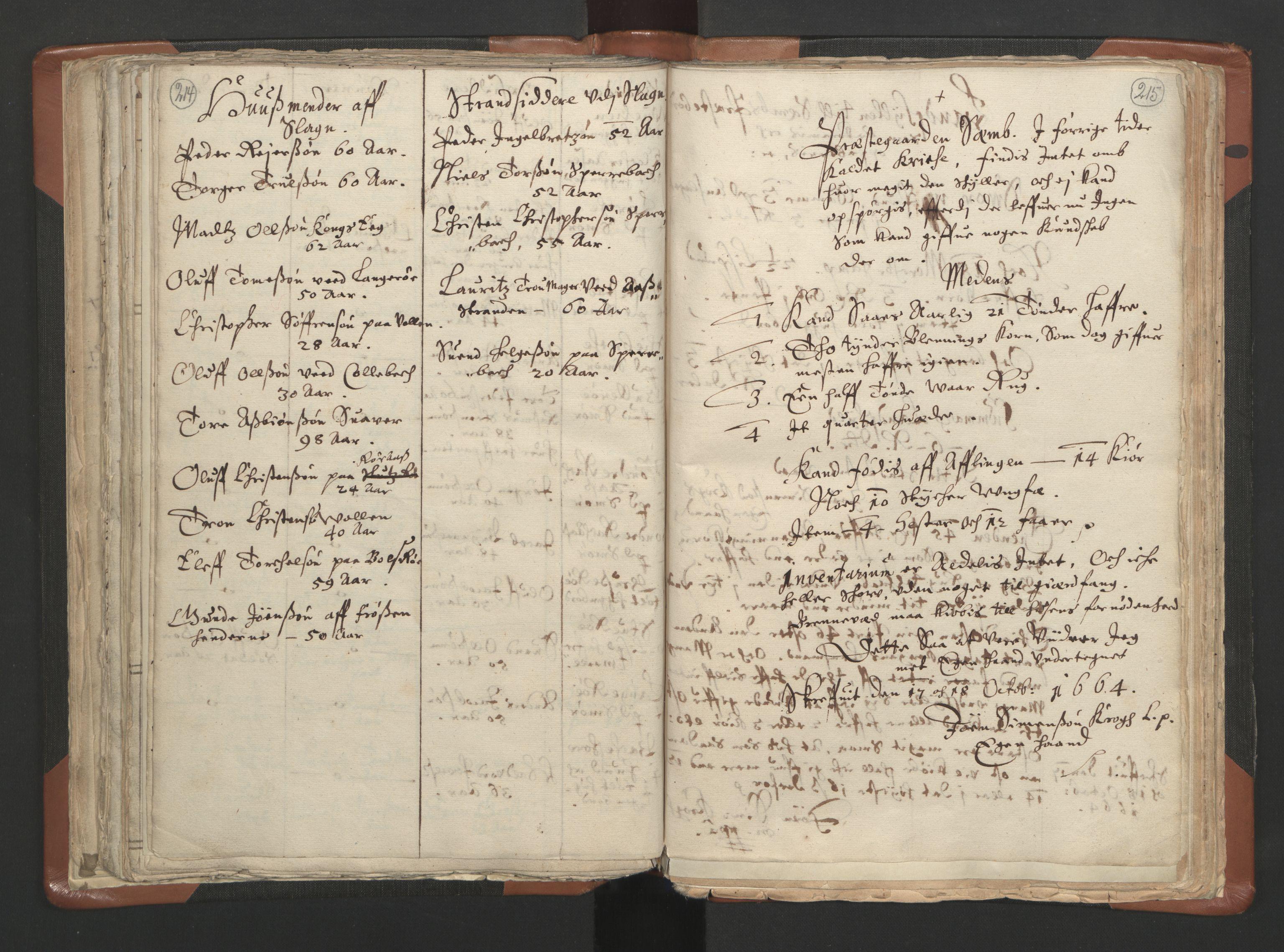 RA, Sogneprestenes manntall 1664-1666, nr. 10: Tønsberg prosti, 1664-1666, s. 214-215