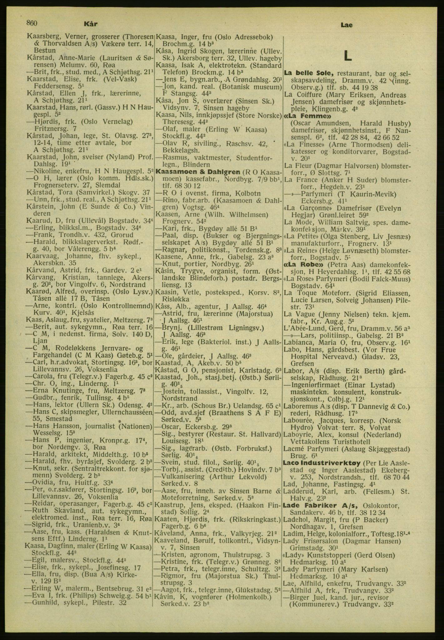 PUBL, Kristiania/Oslo adressebok, 1952, s. 860