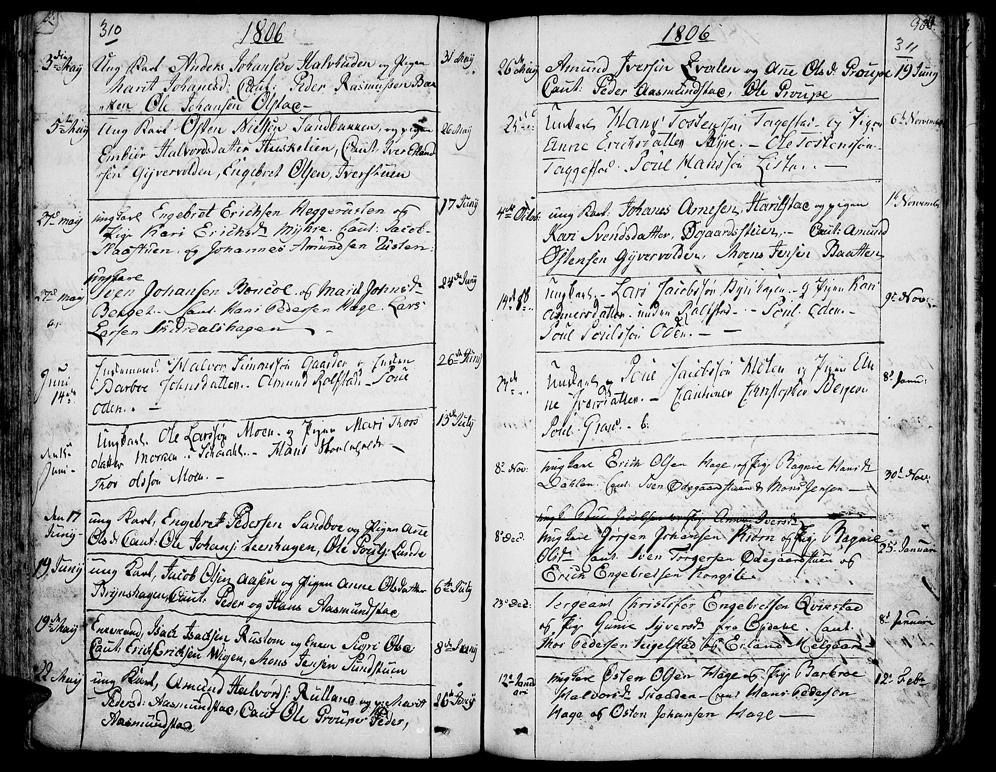 SAH, Fron prestekontor, H/Ha/Haa/L0001: Ministerialbok nr. 1, 1799-1816, s. 310-311
