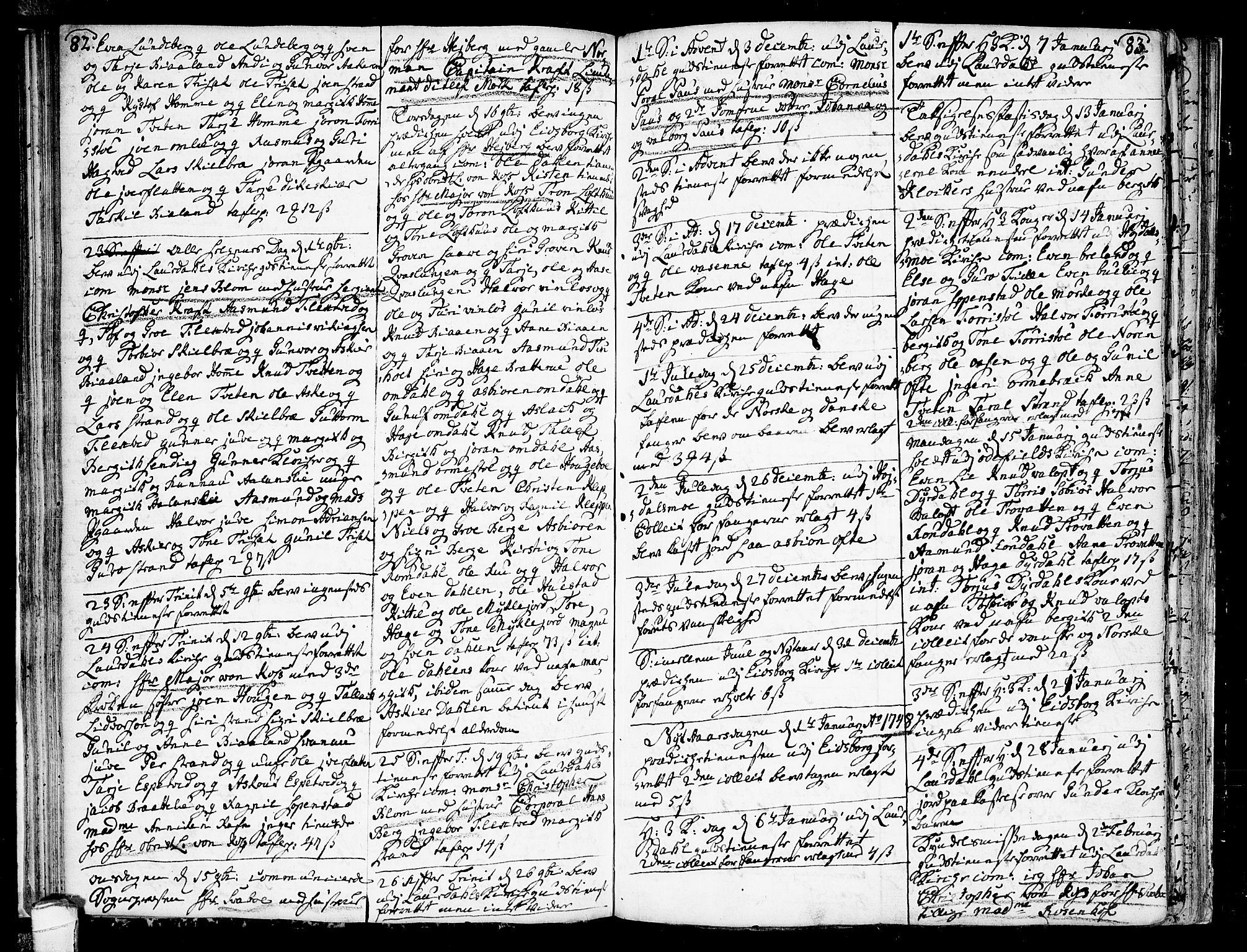 SAKO, Lårdal kirkebøker, F/Fa/L0002: Ministerialbok nr. I 2, 1734-1754, s. 82-83