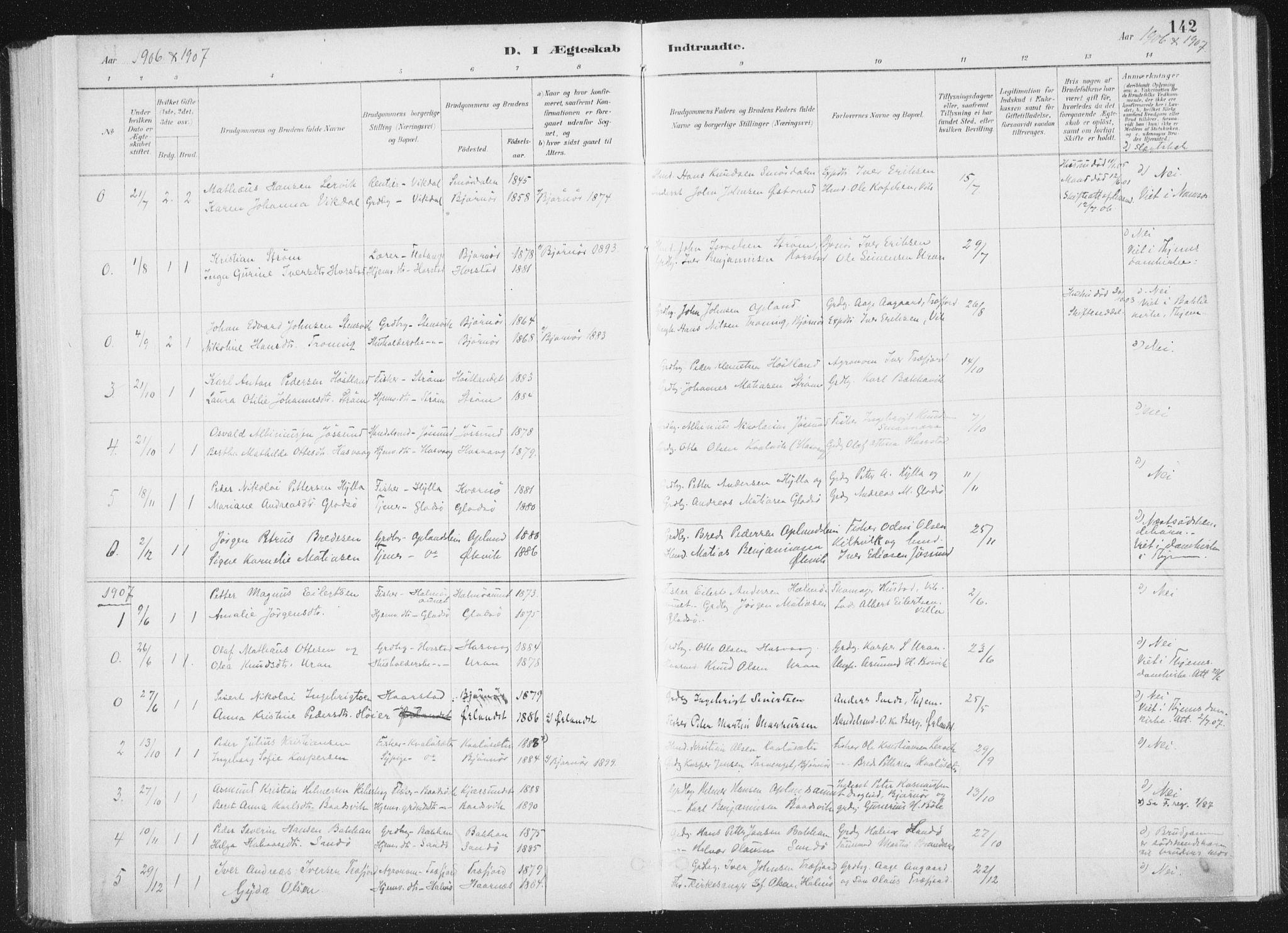 SAT, Ministerialprotokoller, klokkerbøker og fødselsregistre - Nord-Trøndelag, 771/L0597: Ministerialbok nr. 771A04, 1885-1910, s. 142