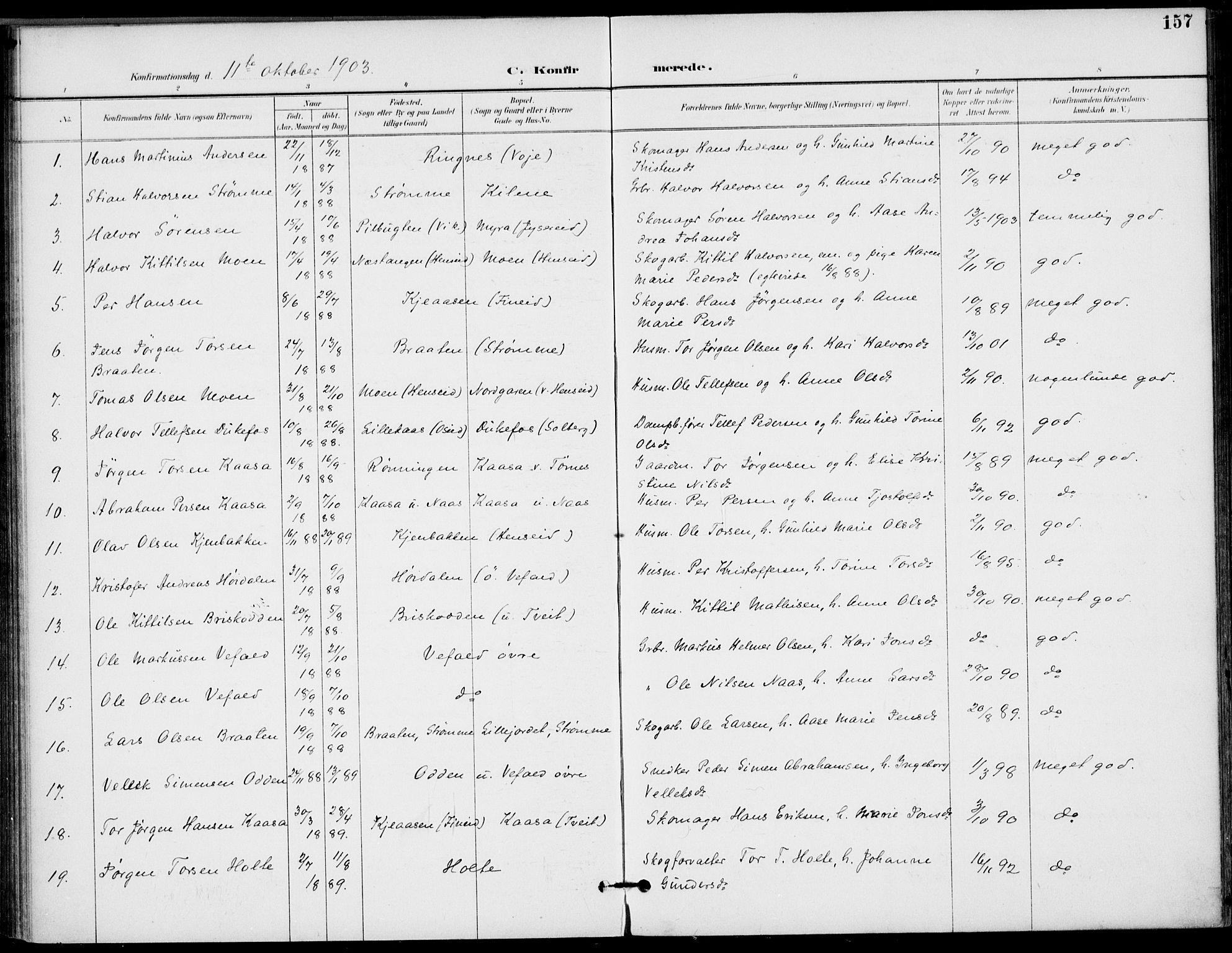 SAKO, Drangedal kirkebøker, F/Fa/L0012: Ministerialbok nr. 12, 1895-1905, s. 157