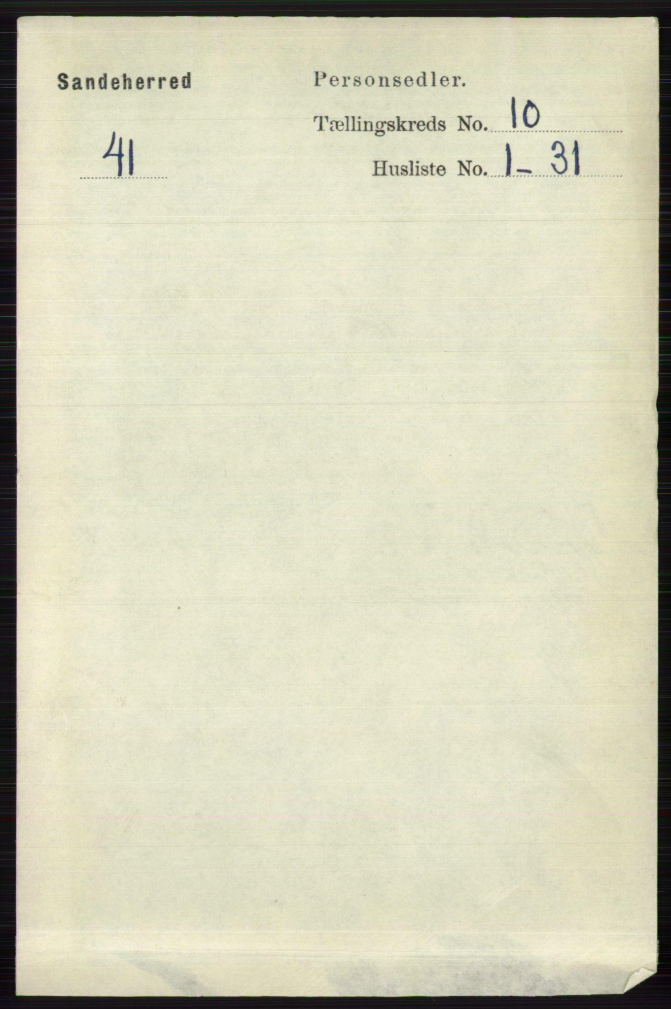 RA, Folketelling 1891 for 0724 Sandeherred herred, 1891, s. 6198