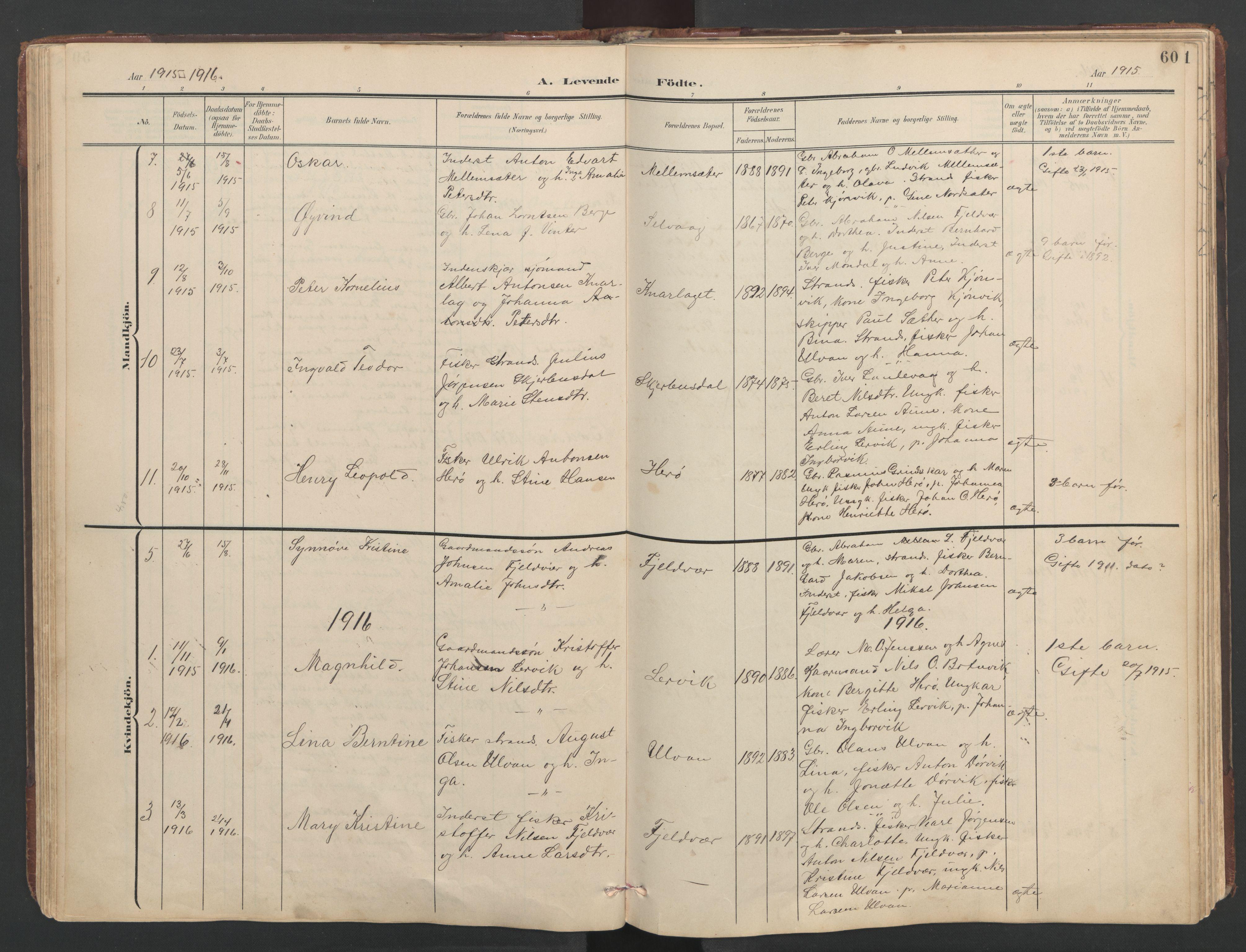 SAT, Ministerialprotokoller, klokkerbøker og fødselsregistre - Sør-Trøndelag, 638/L0571: Klokkerbok nr. 638C03, 1901-1930, s. 60