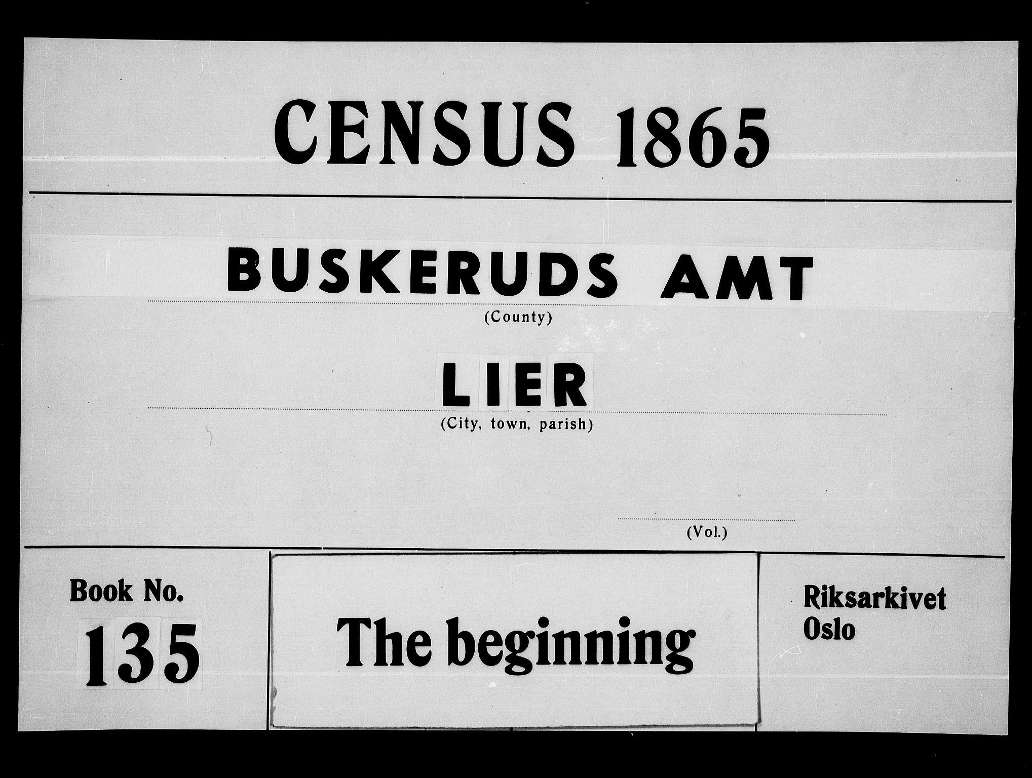 RA, Folketelling 1865 for 0626P Lier prestegjeld, 1865, s. 1
