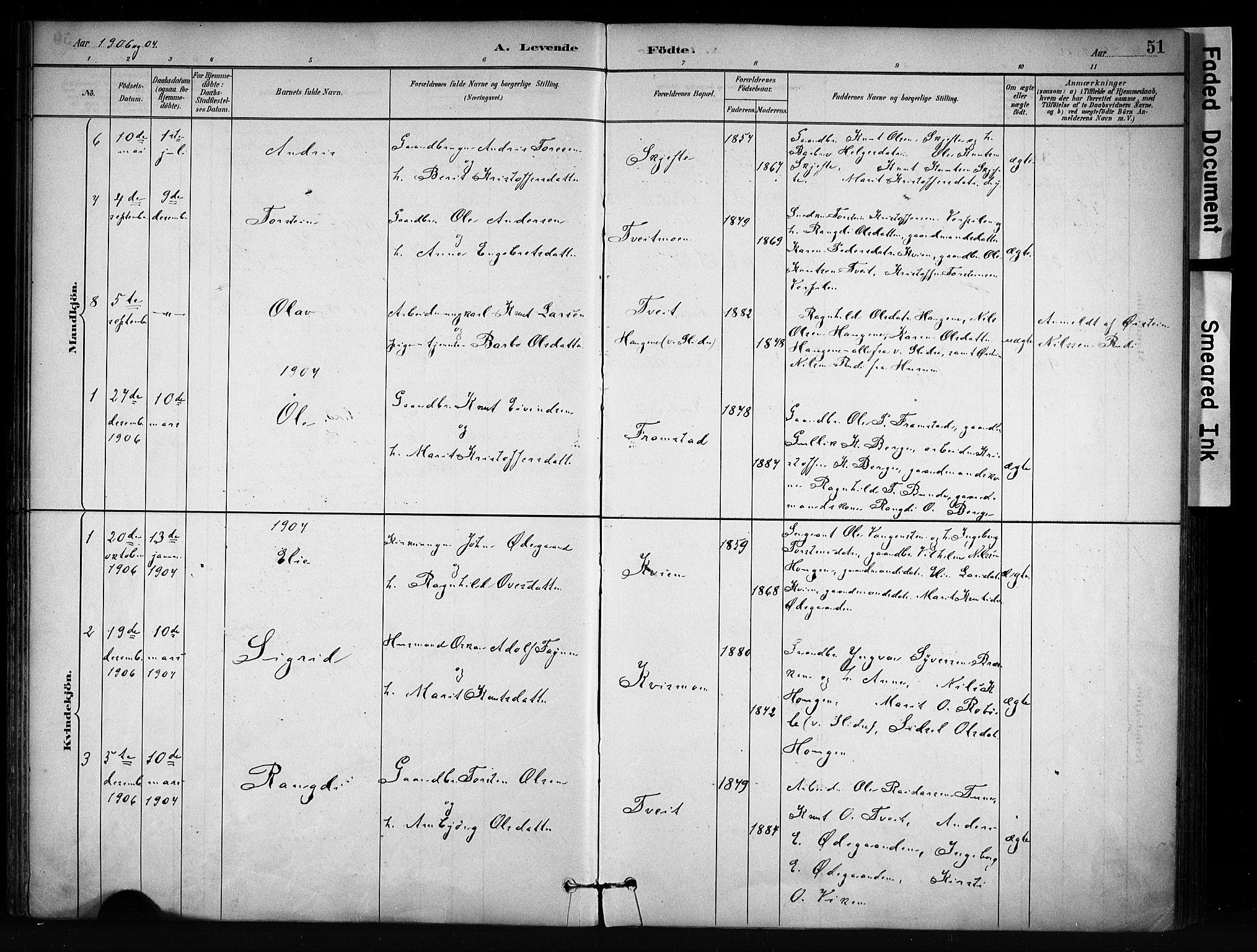 SAH, Vang prestekontor, Valdres, Ministerialbok nr. 9, 1882-1914, s. 51