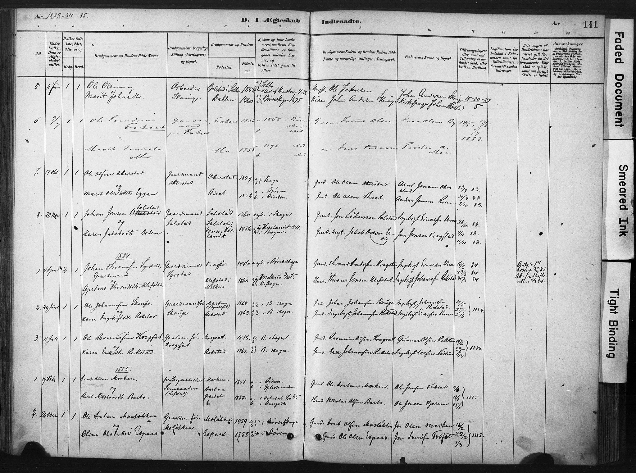 SAT, Ministerialprotokoller, klokkerbøker og fødselsregistre - Sør-Trøndelag, 667/L0795: Ministerialbok nr. 667A03, 1879-1907, s. 141