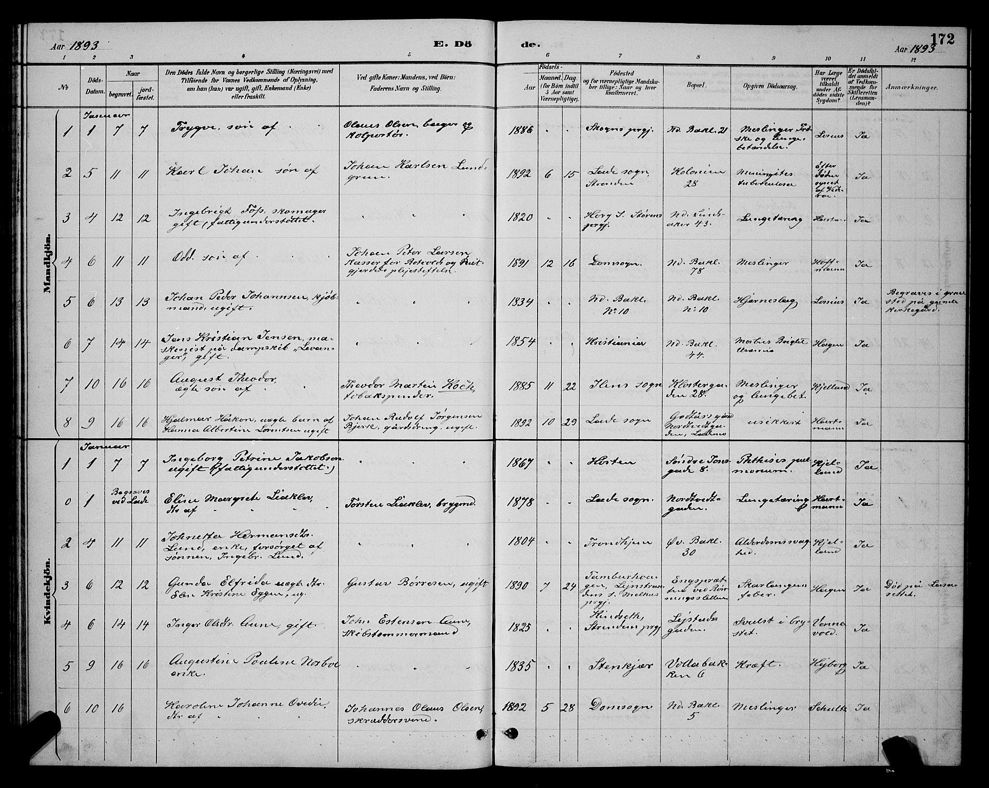 SAT, Ministerialprotokoller, klokkerbøker og fødselsregistre - Sør-Trøndelag, 604/L0223: Klokkerbok nr. 604C06, 1886-1897, s. 172