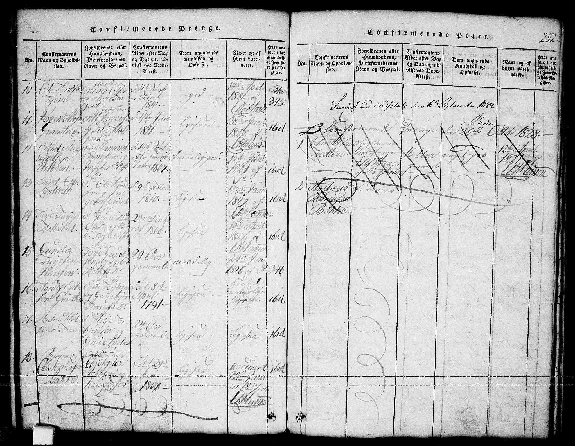 SAKO, Nissedal kirkebøker, G/Ga/L0001: Klokkerbok nr. I 1, 1814-1860, s. 252