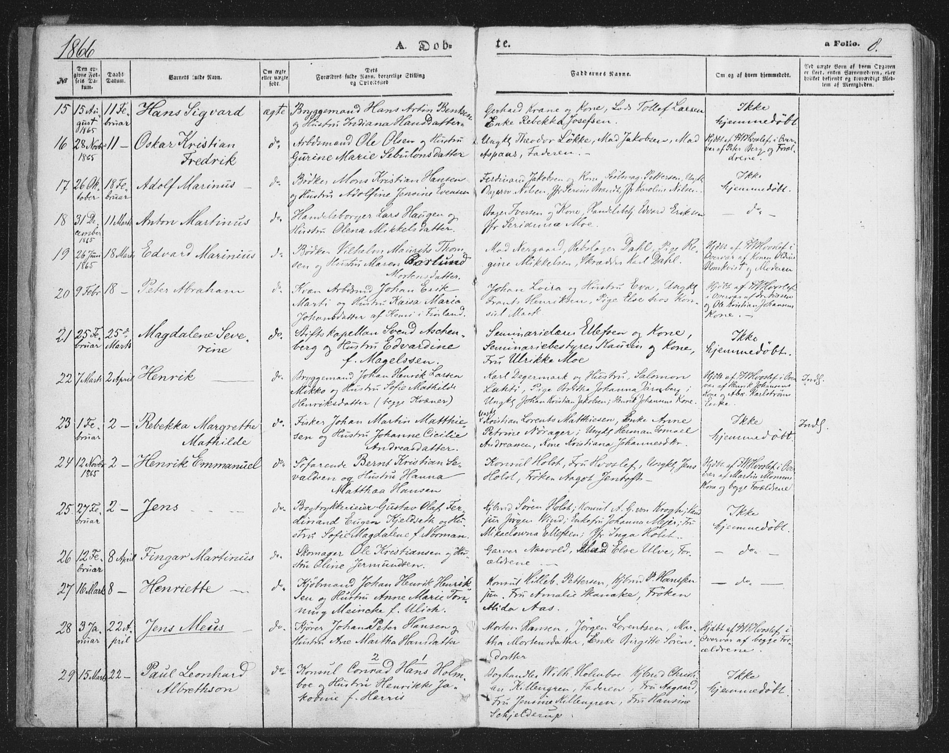 SATØ, Tromsø sokneprestkontor/stiftsprosti/domprosti, G/Ga/L0012kirke: Ministerialbok nr. 12, 1865-1871, s. 8