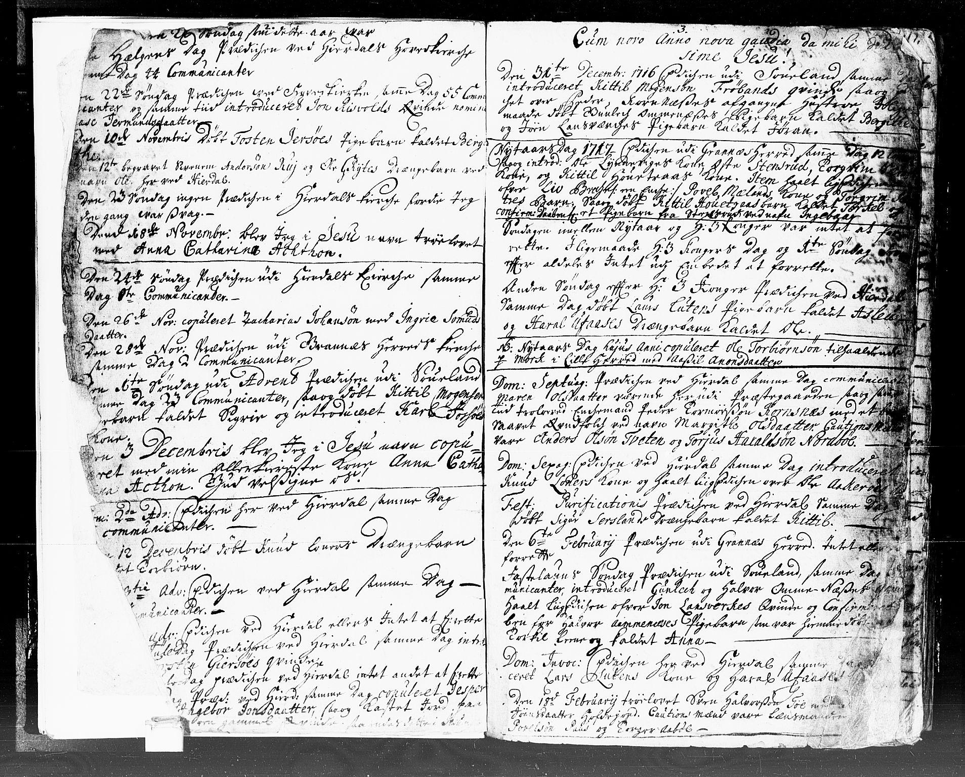 SAKO, Hjartdal kirkebøker, F/Fa/L0002: Ministerialbok nr. I 2, 1716-1754, s. 2-3