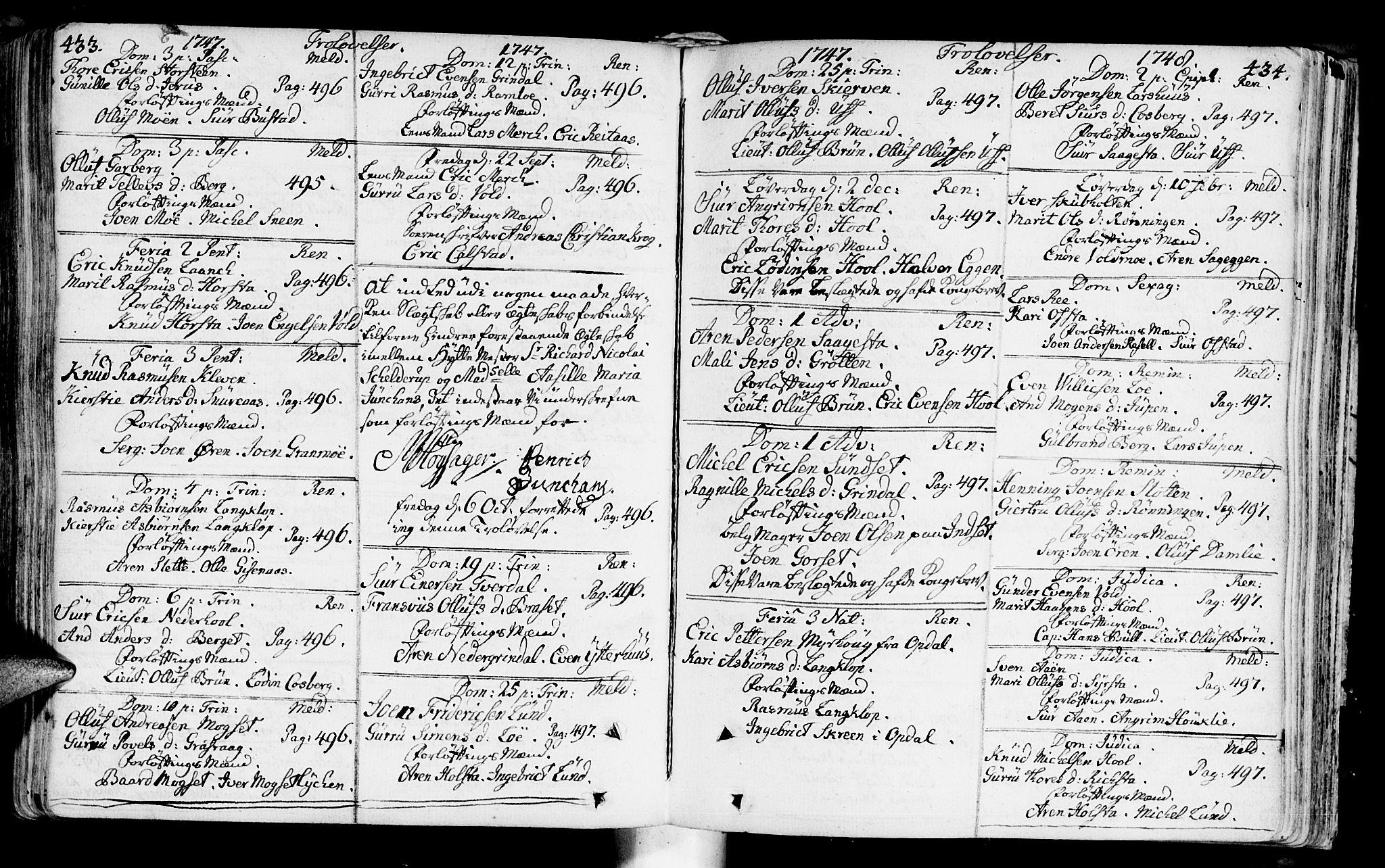 SAT, Ministerialprotokoller, klokkerbøker og fødselsregistre - Sør-Trøndelag, 672/L0850: Ministerialbok nr. 672A03, 1725-1751, s. 433-434