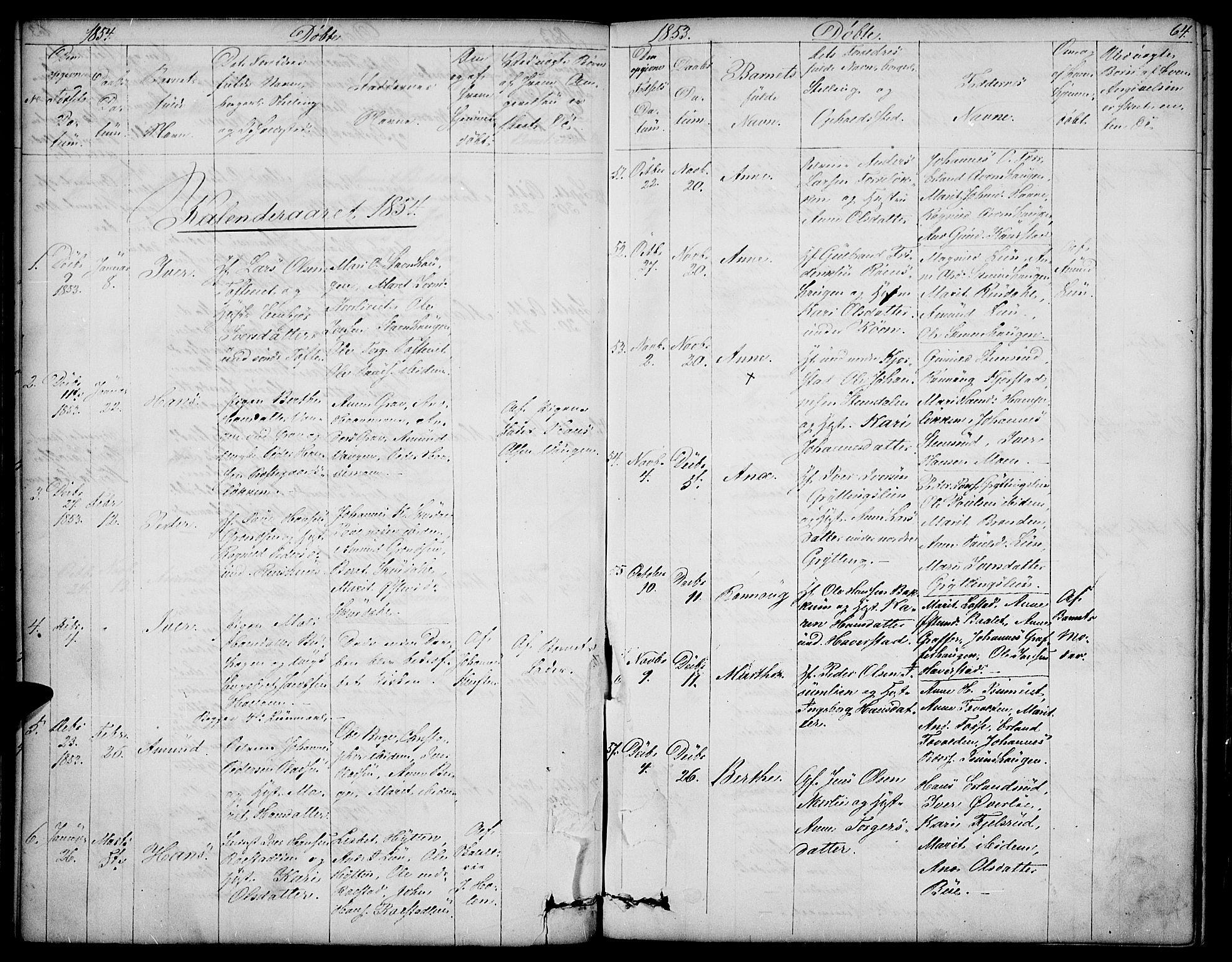 SAH, Sør-Fron prestekontor, H/Ha/Hab/L0001: Klokkerbok nr. 1, 1844-1863, s. 64