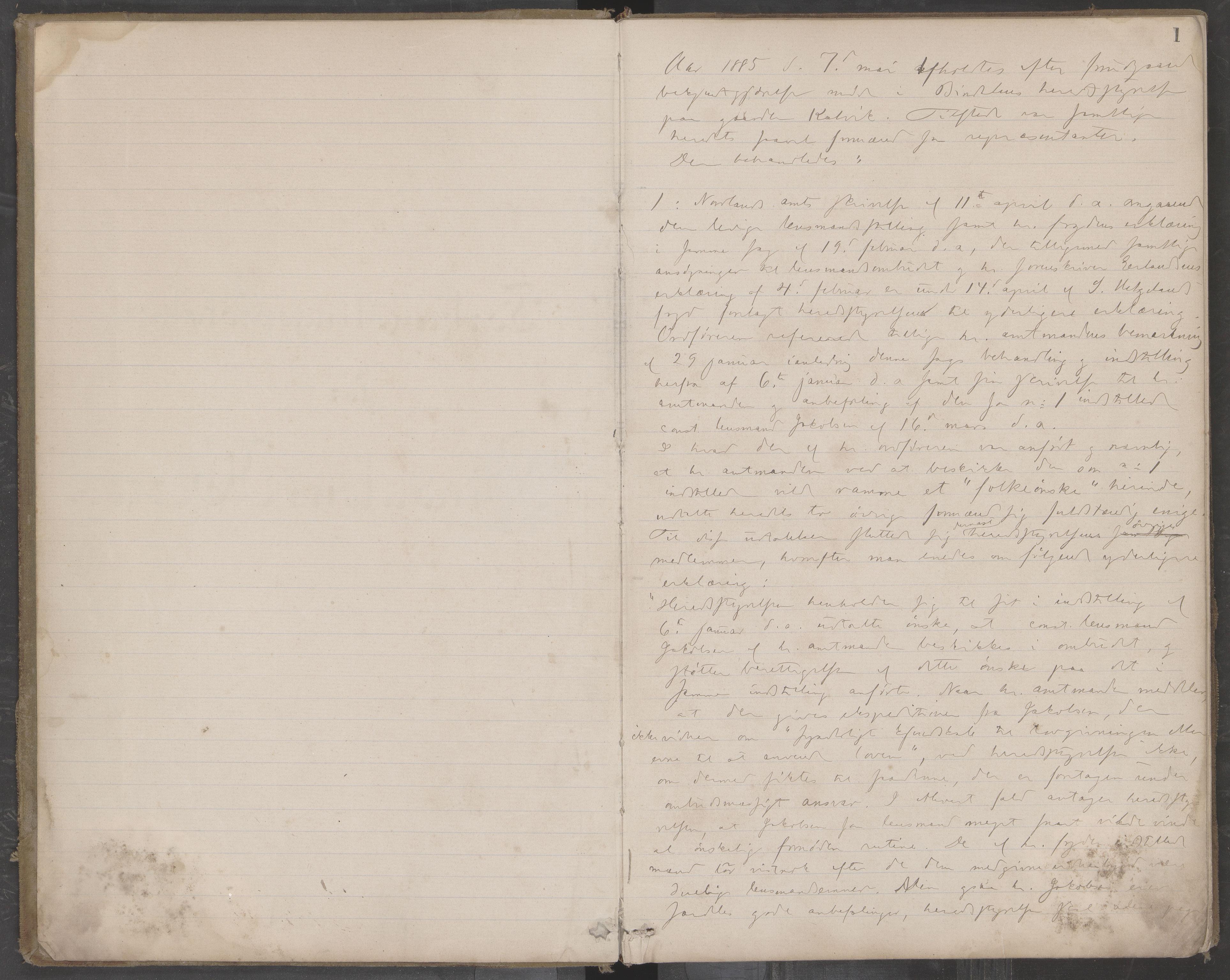 AIN, Bindal kommune. Formannskapet, A/Aa/L0000c: Møtebok, 1885-1897, s. 1
