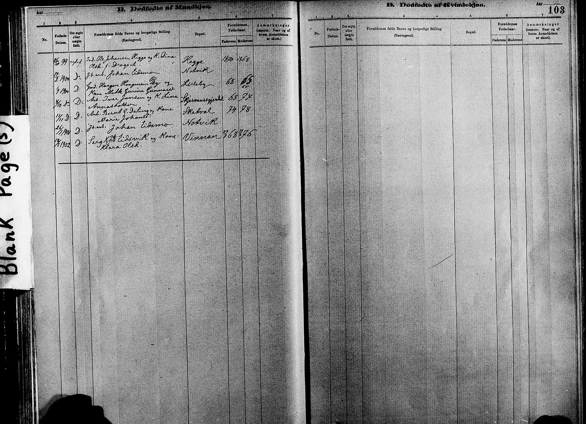 SAT, Ministerialprotokoller, klokkerbøker og fødselsregistre - Nord-Trøndelag, 712/L0103: Klokkerbok nr. 712C01, 1878-1917, s. 103
