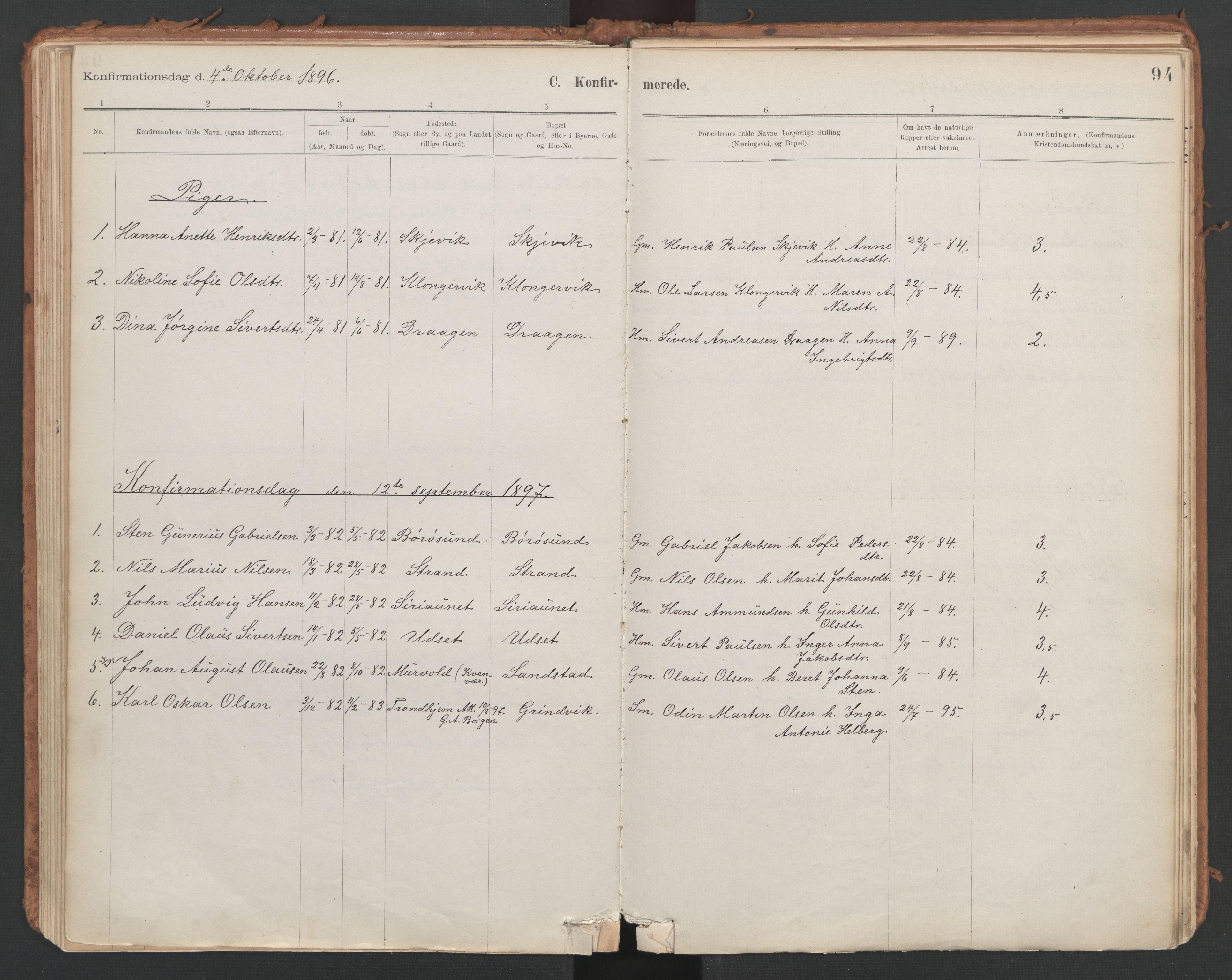 SAT, Ministerialprotokoller, klokkerbøker og fødselsregistre - Sør-Trøndelag, 639/L0572: Ministerialbok nr. 639A01, 1890-1920, s. 94