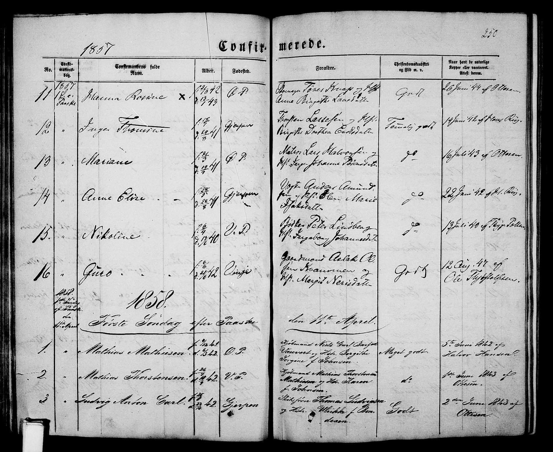 SAKO, Porsgrunn kirkebøker , G/Gb/L0004: Klokkerbok nr. II 4, 1853-1882, s. 250