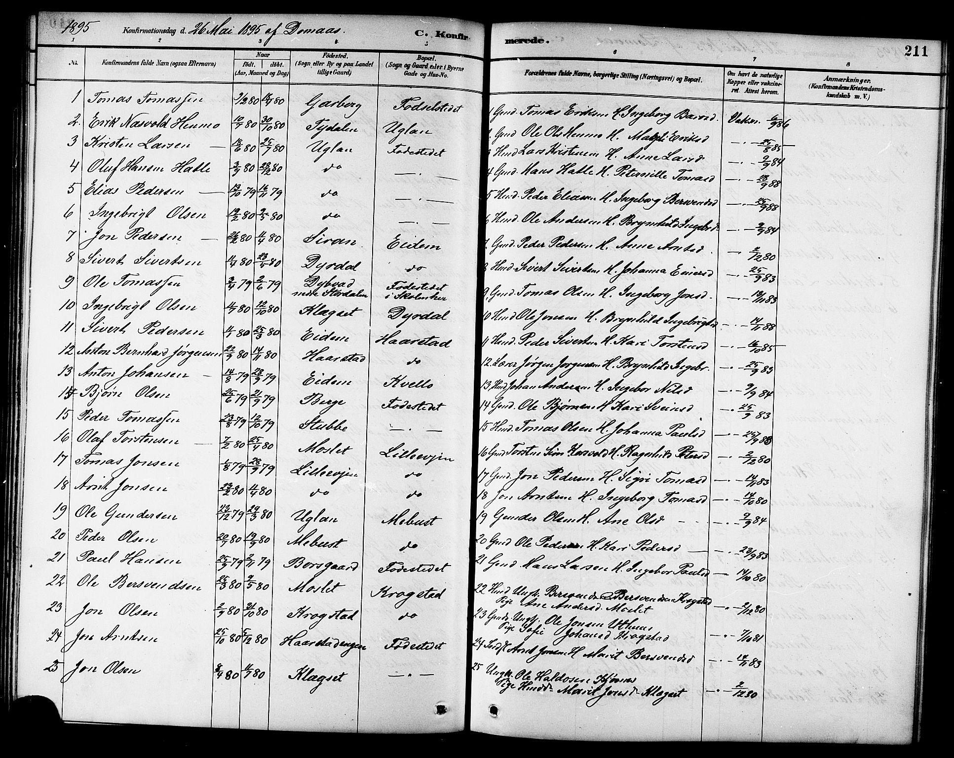 SAT, Ministerialprotokoller, klokkerbøker og fødselsregistre - Sør-Trøndelag, 695/L1157: Klokkerbok nr. 695C08, 1889-1913, s. 211