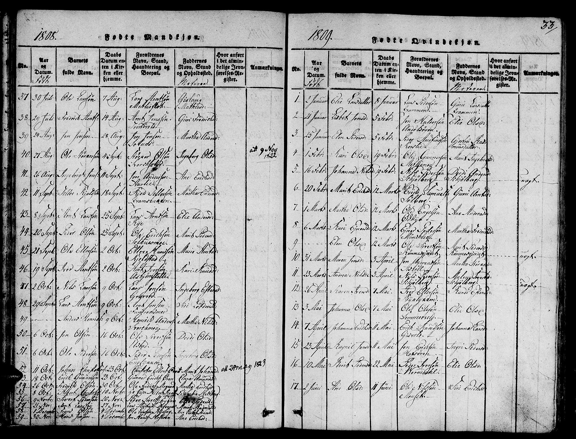SAT, Ministerialprotokoller, klokkerbøker og fødselsregistre - Sør-Trøndelag, 668/L0803: Ministerialbok nr. 668A03, 1800-1826, s. 33