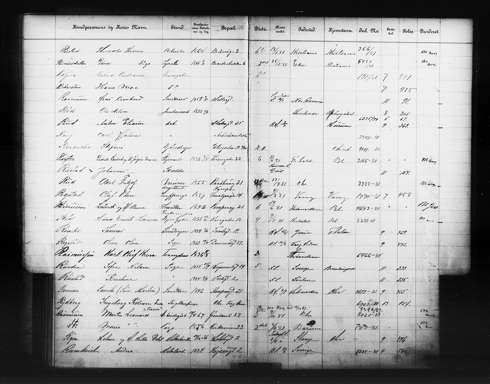 OBA, Fattigvesenet, Fb/L0001: Hjemstavnsregister, 1881, s. 137