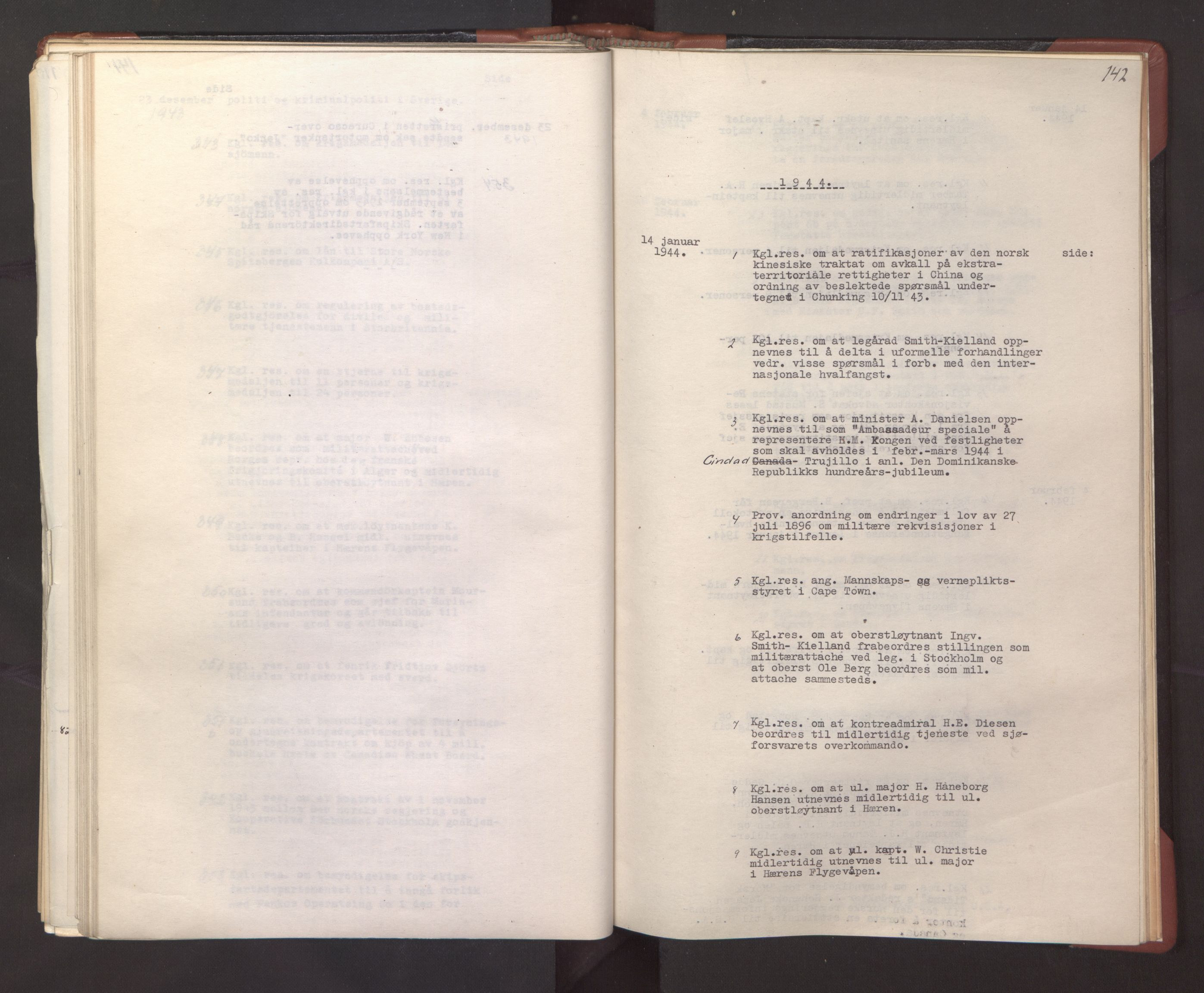 RA, Statsrådssekretariatet, A/Ac/L0127: Register 9/4-25/5, 1940-1945, s. 142