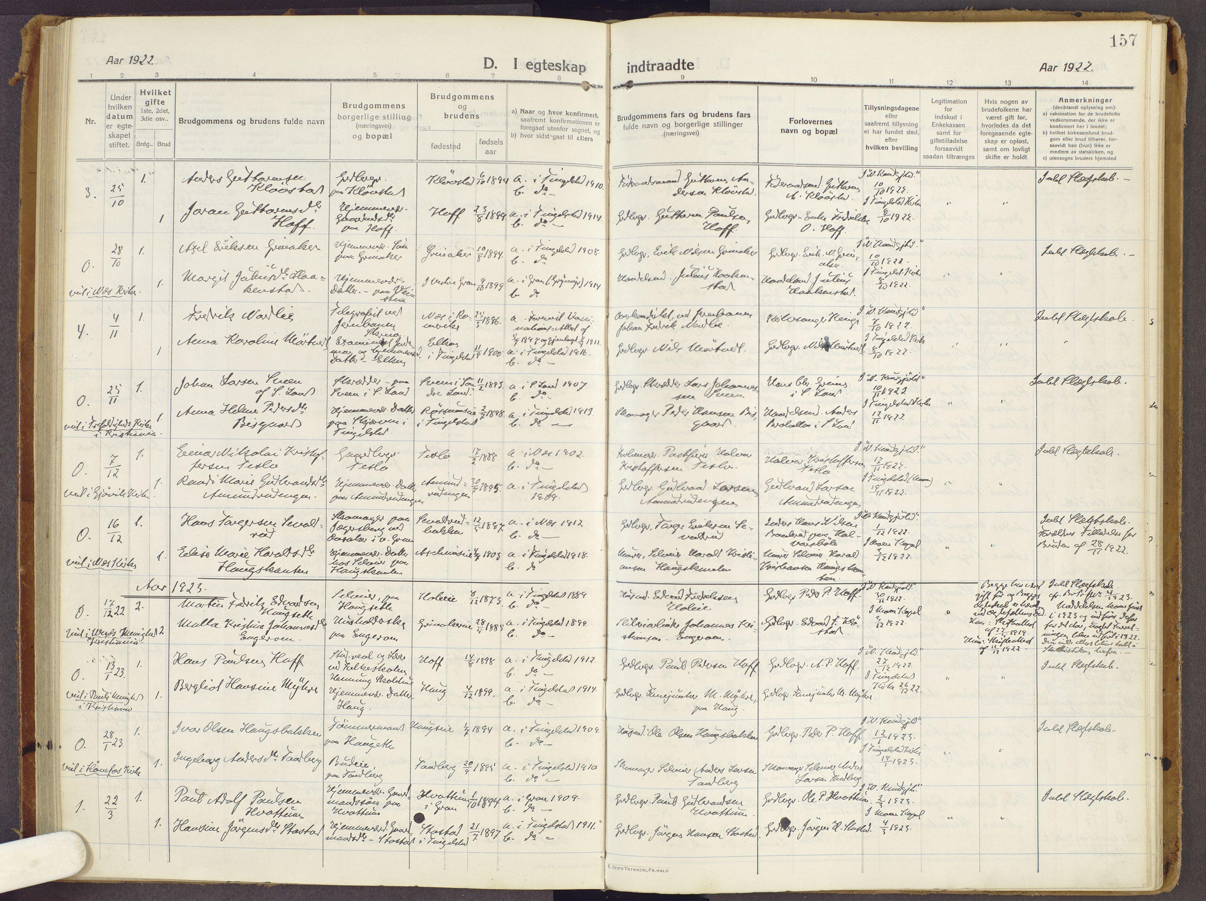 SAH, Brandbu prestekontor, Ministerialbok nr. 3, 1914-1928, s. 157