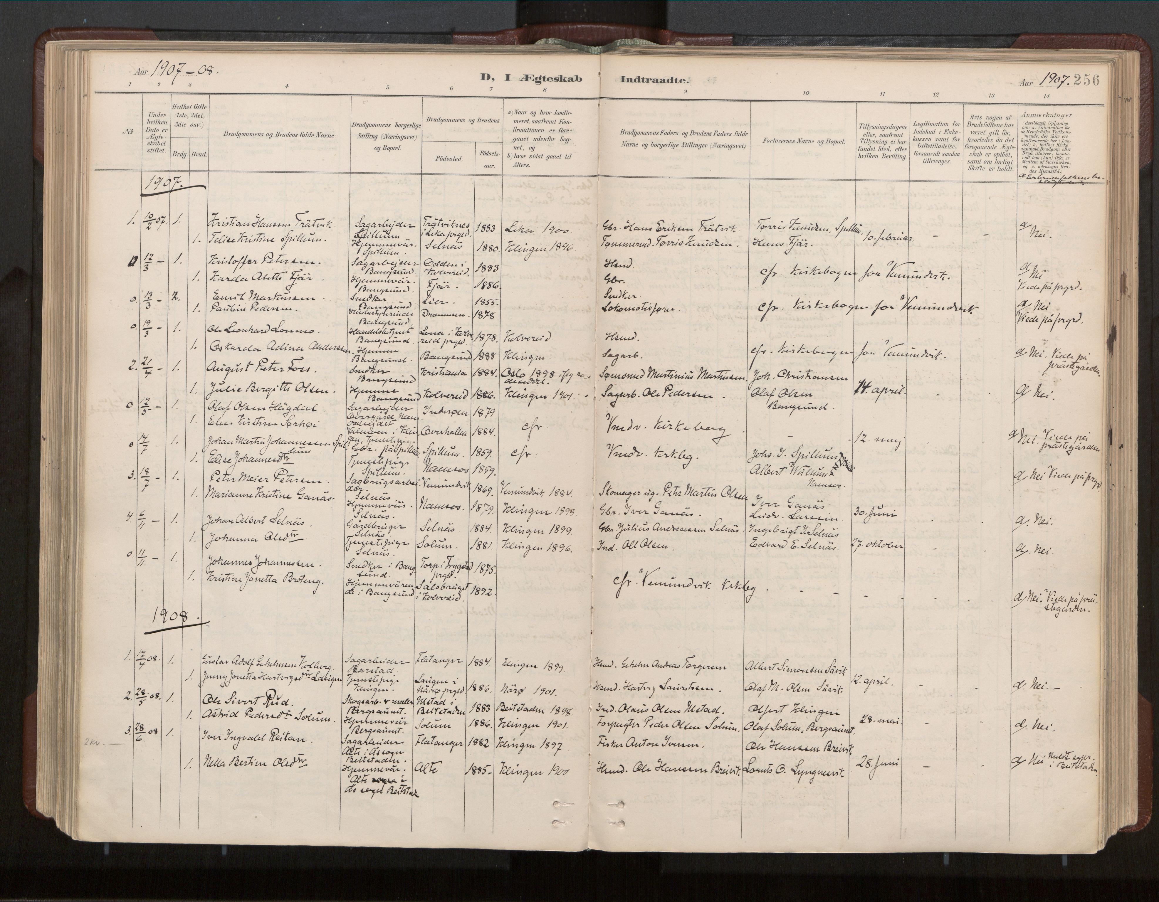 SAT, Ministerialprotokoller, klokkerbøker og fødselsregistre - Nord-Trøndelag, 770/L0589: Ministerialbok nr. 770A03, 1887-1929, s. 256