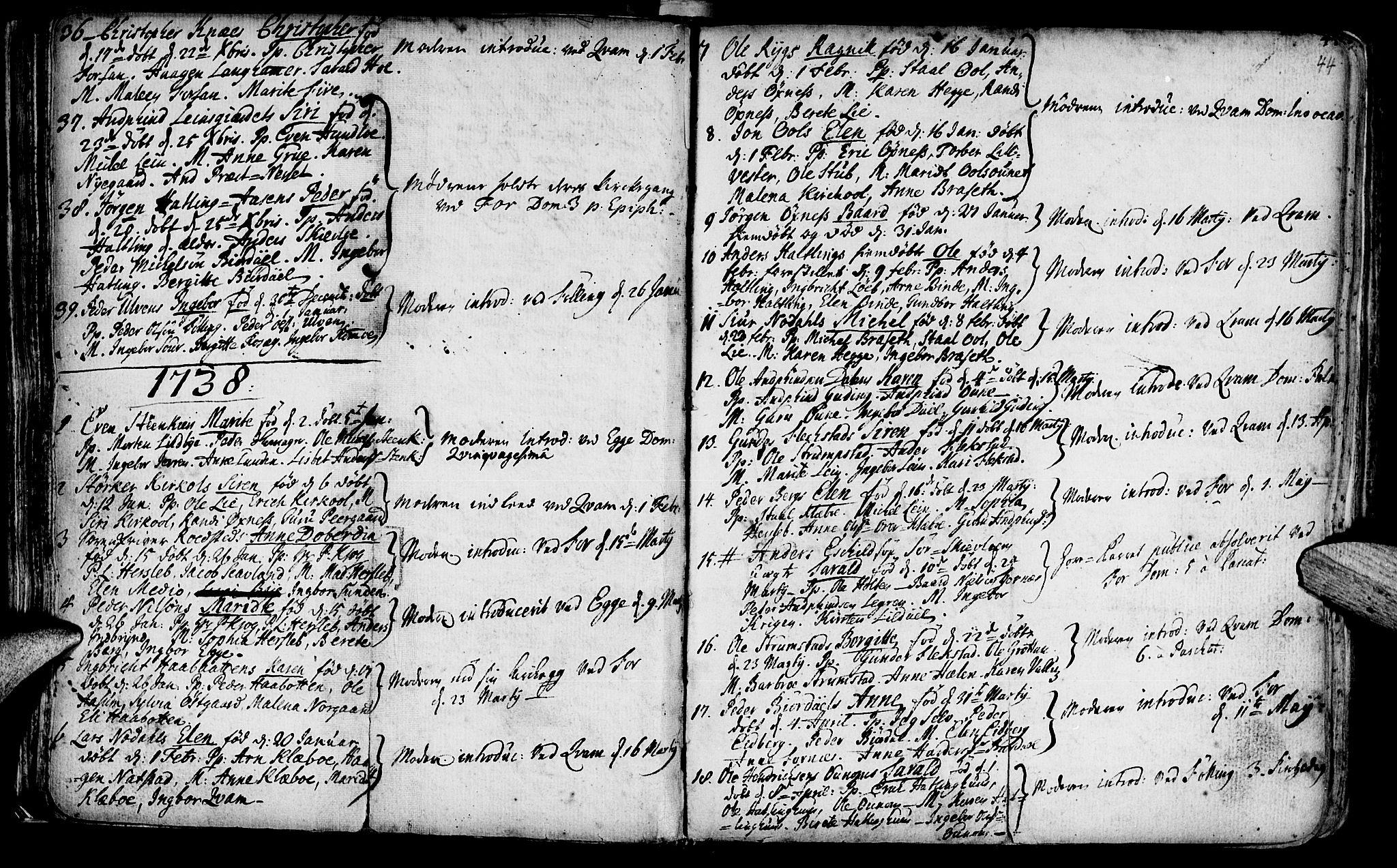 SAT, Ministerialprotokoller, klokkerbøker og fødselsregistre - Nord-Trøndelag, 746/L0439: Ministerialbok nr. 746A01, 1688-1759, s. 44