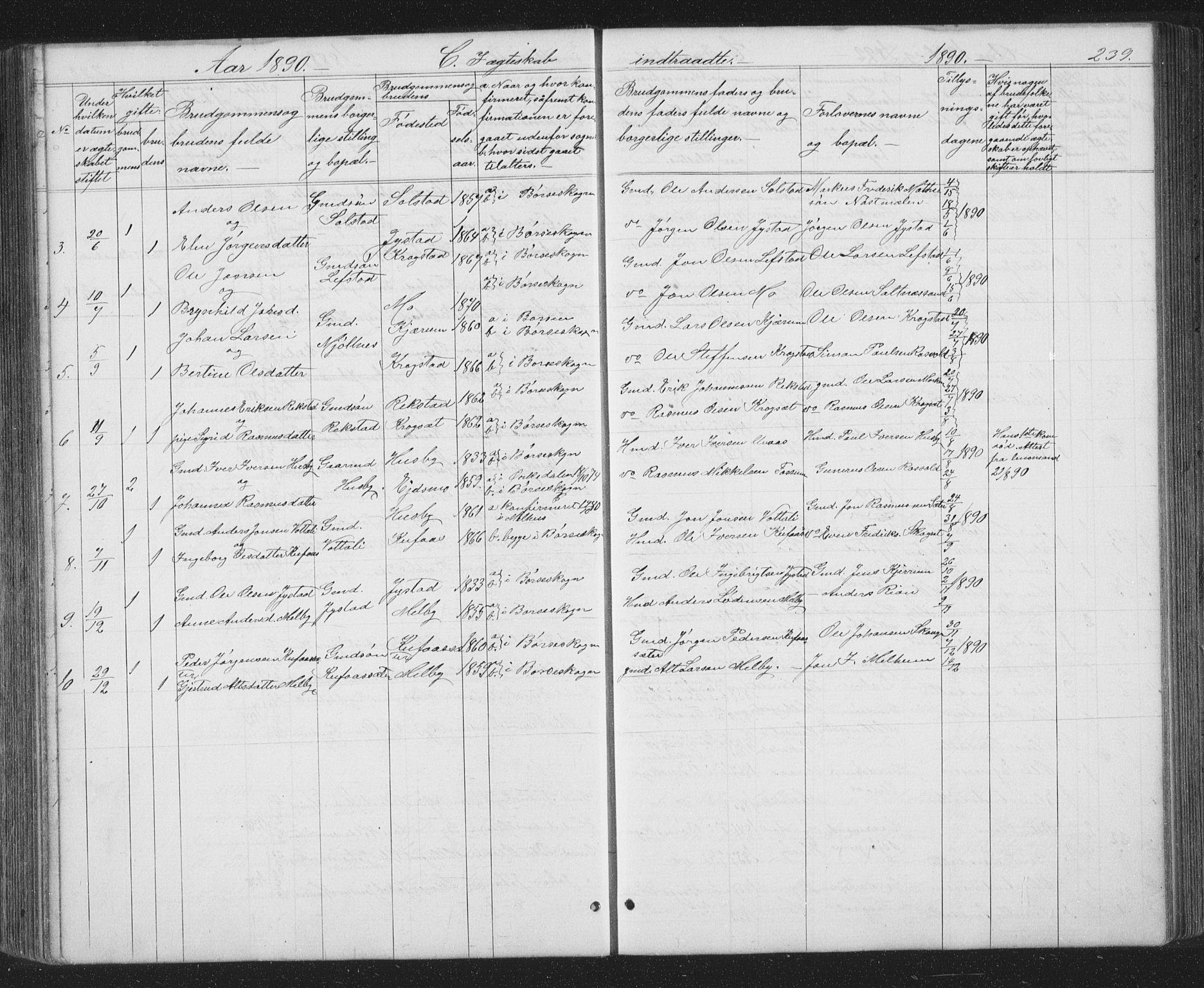 SAT, Ministerialprotokoller, klokkerbøker og fødselsregistre - Sør-Trøndelag, 667/L0798: Klokkerbok nr. 667C03, 1867-1929, s. 239