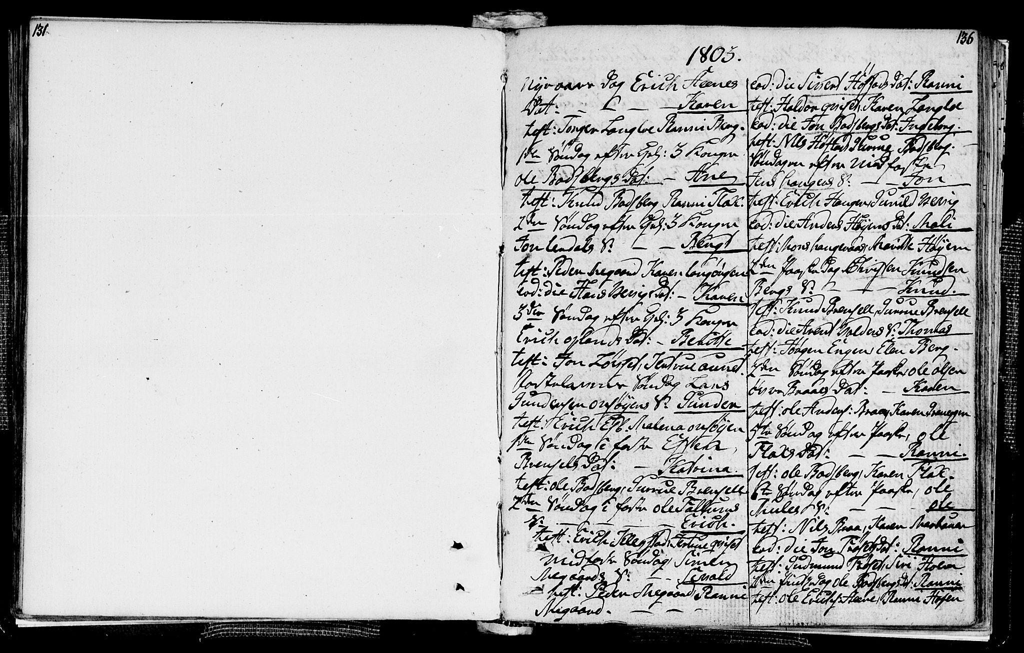 SAT, Ministerialprotokoller, klokkerbøker og fødselsregistre - Sør-Trøndelag, 612/L0371: Ministerialbok nr. 612A05, 1803-1816, s. 135-136