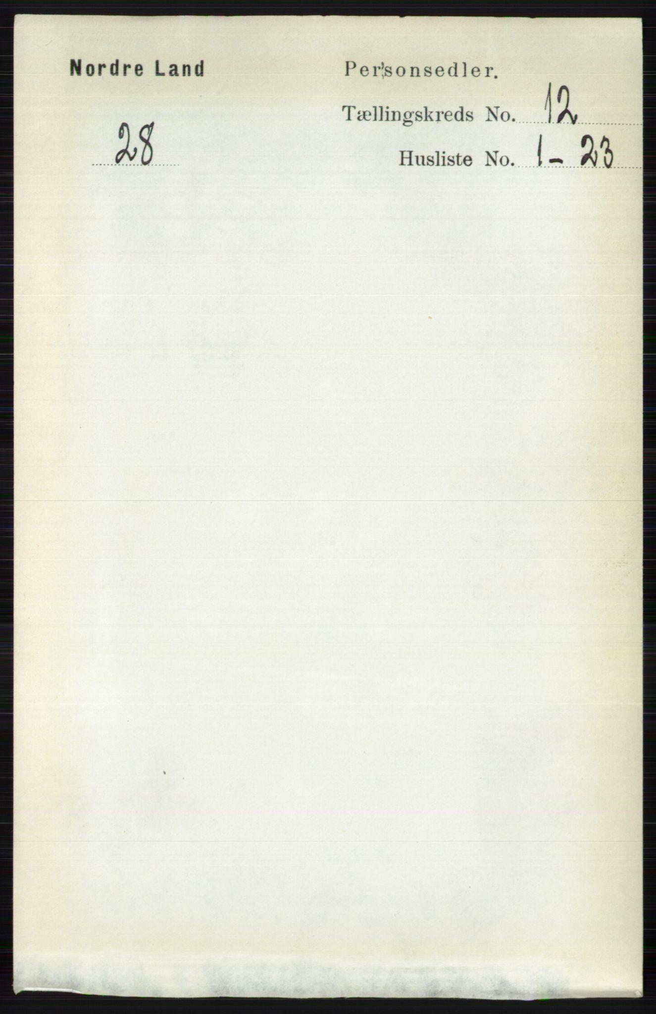RA, Folketelling 1891 for 0538 Nordre Land herred, 1891, s. 3223