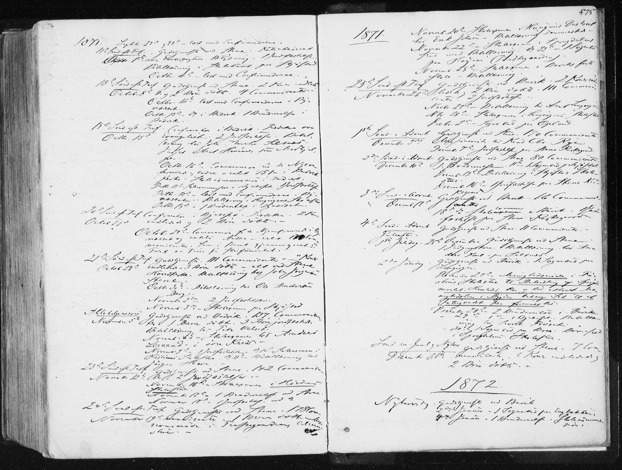 SAT, Ministerialprotokoller, klokkerbøker og fødselsregistre - Sør-Trøndelag, 612/L0377: Ministerialbok nr. 612A09, 1859-1877, s. 575